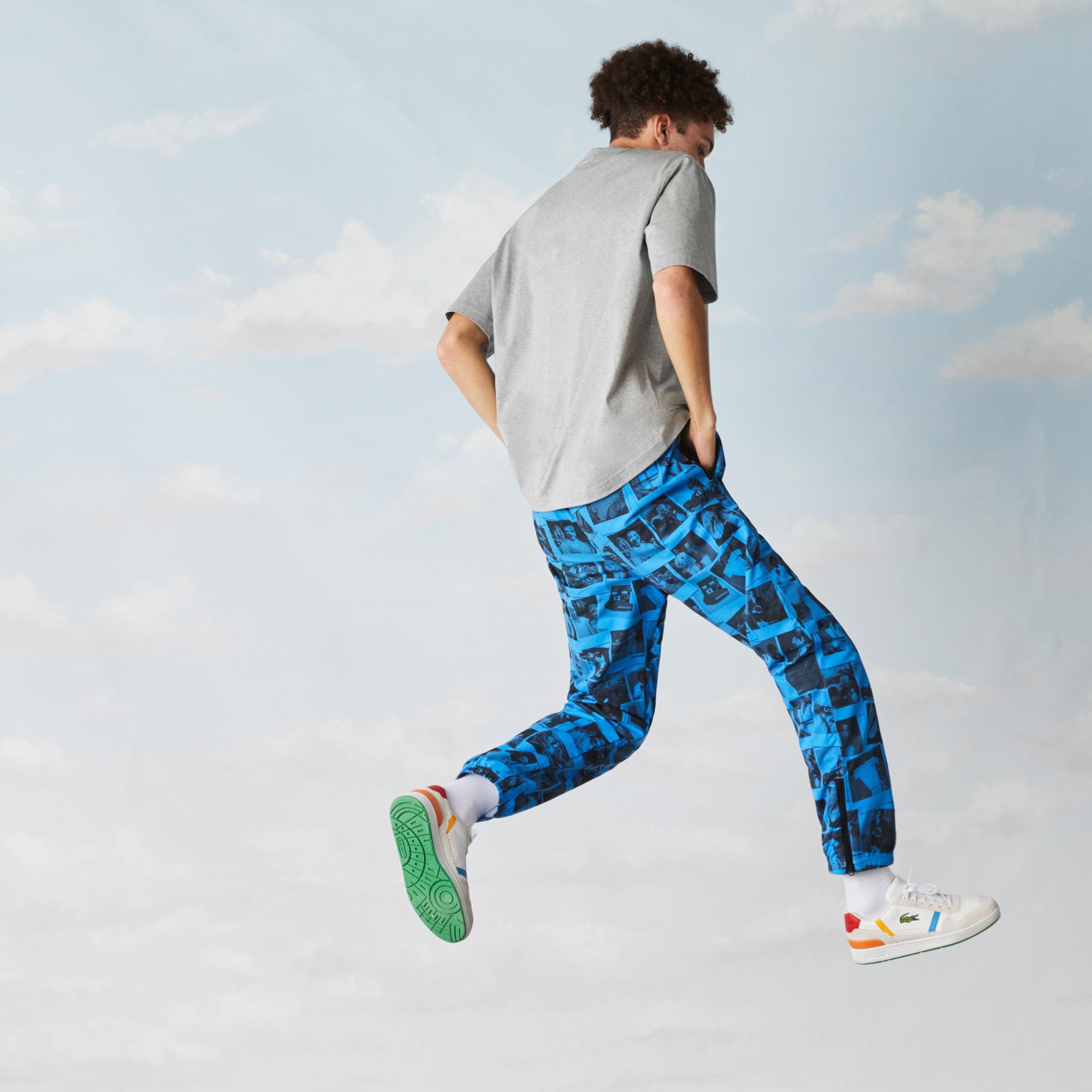Lacoste L!ve X Polaroid Unisex Loose Fit Bisiklet Yaka Baskılı Gri T-Shirt