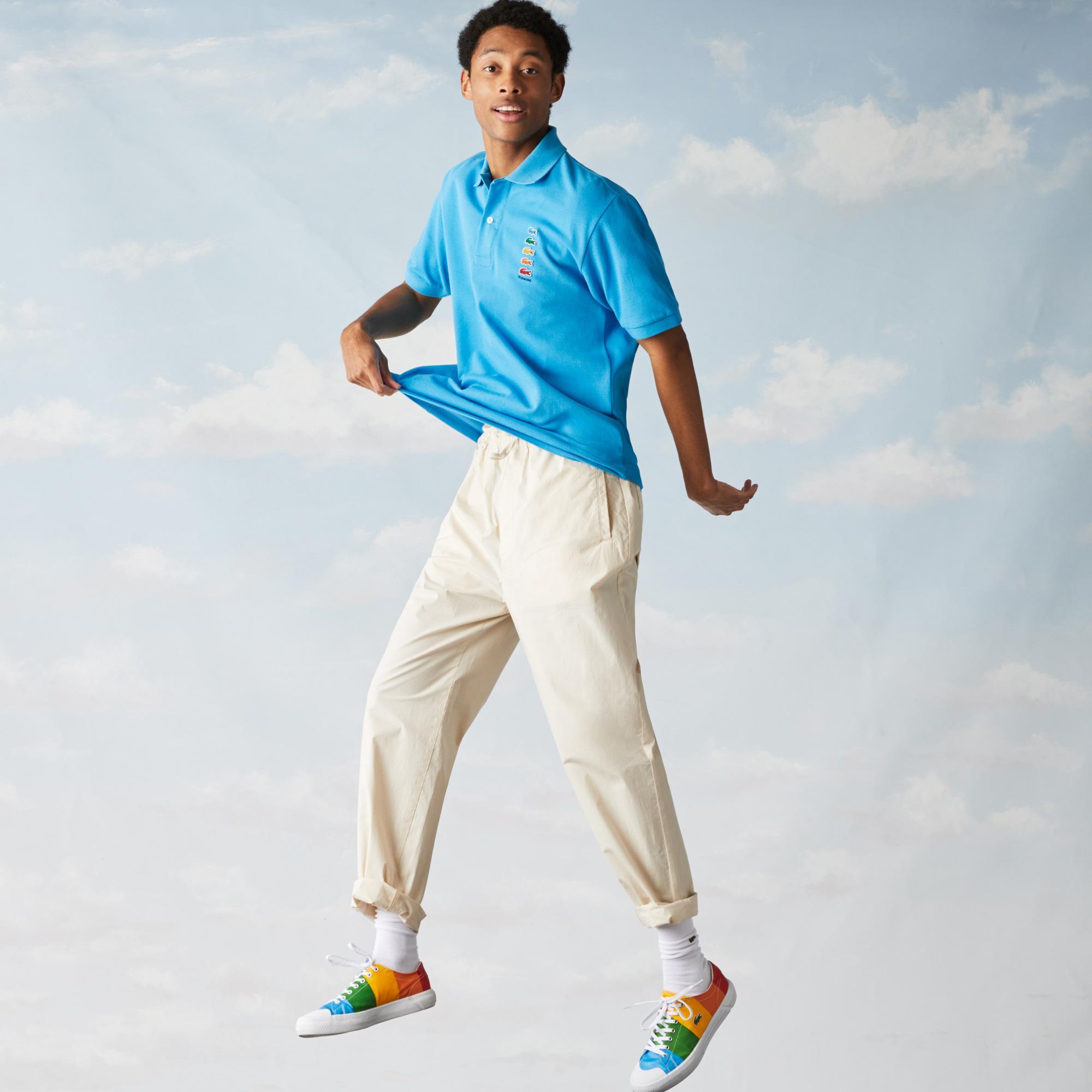 Lacoste X Polaroid Erkek Klasik Fit Mavi Polo