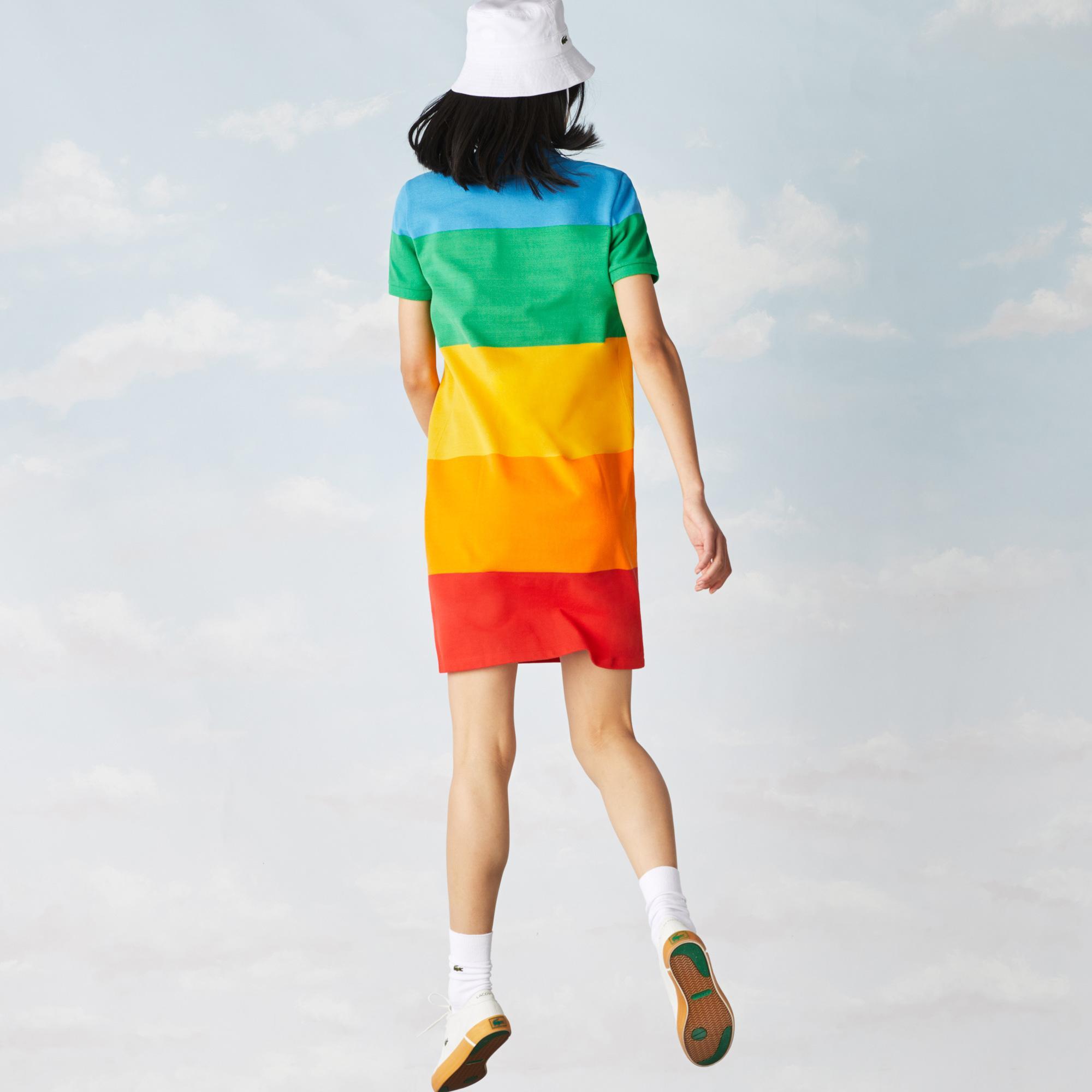 Lacoste X Polaroid Kadın Kısa Kollu Polo Yaka Renk Bloklu Renkli Elbise