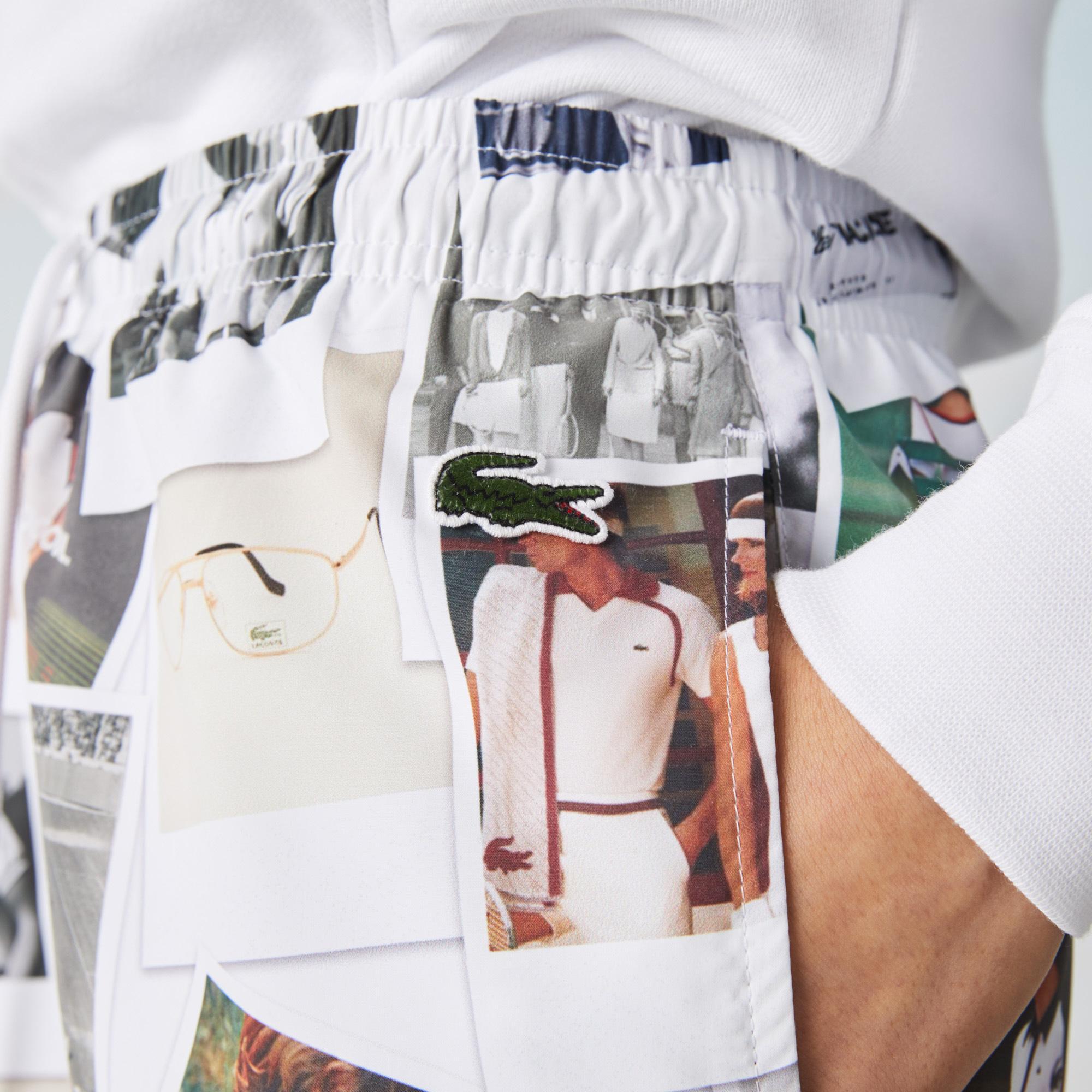Lacoste L!ve X Polaroid Unisex Baskılı Beyaz Şort Mayo