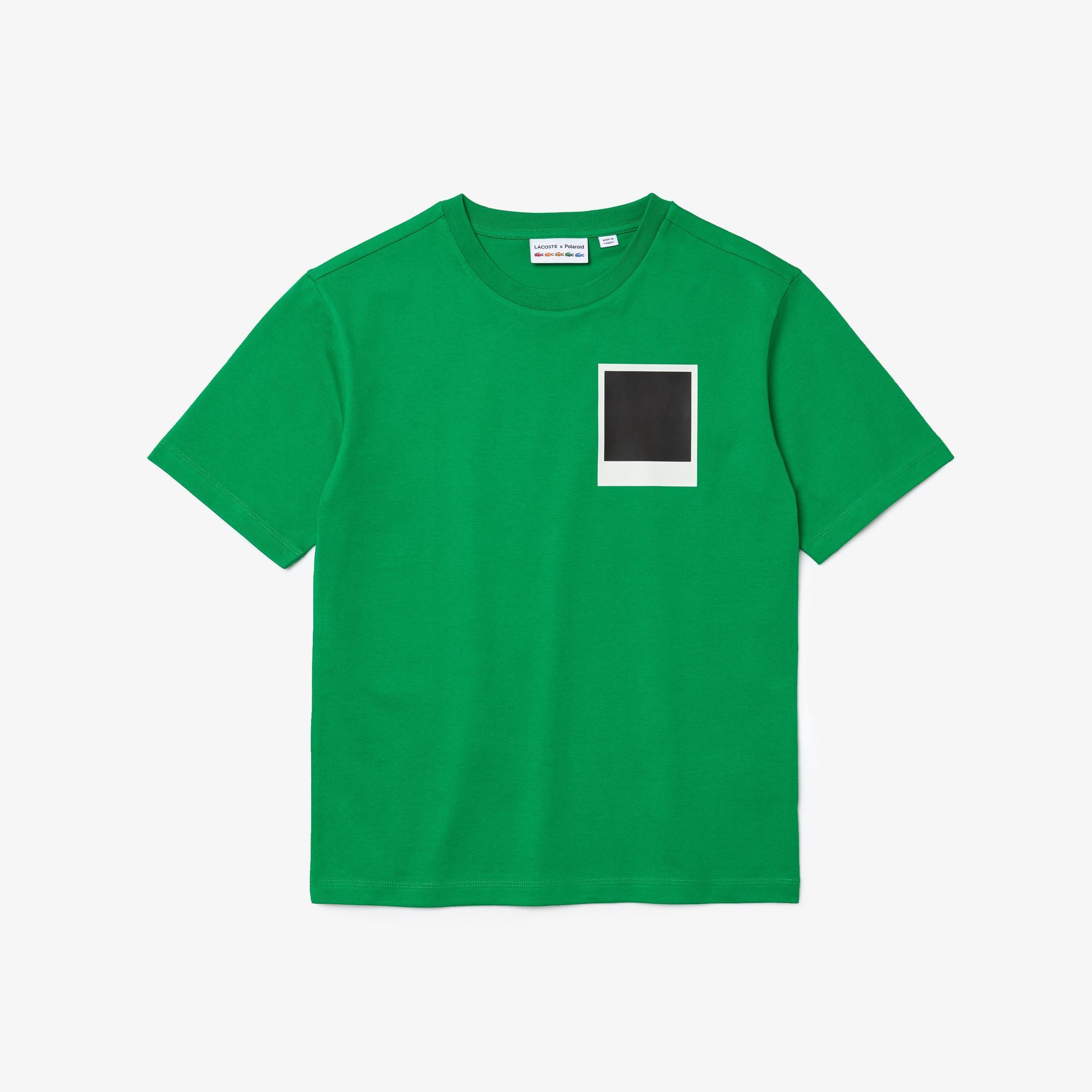 Lacoste X Polaroid Kadın Bisiklet Yaka Baskılı Yeşil T-Shirt