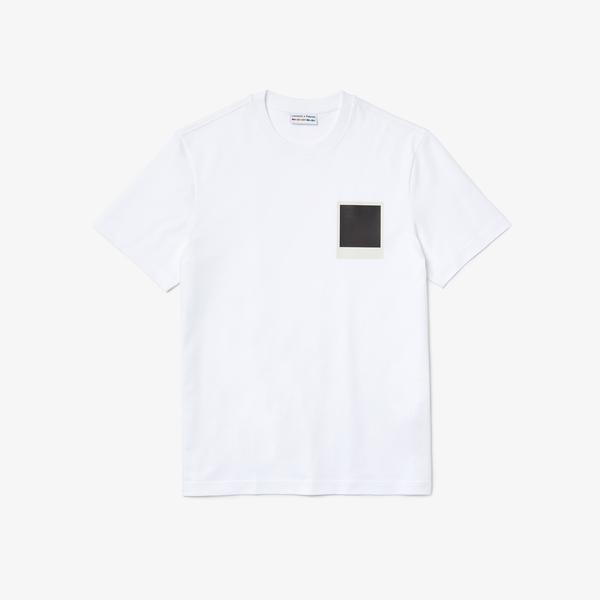 Lacoste X Polaroid Erkek Regular Fit Bisiklet Yaka Baskılı Beyaz T-Shirt