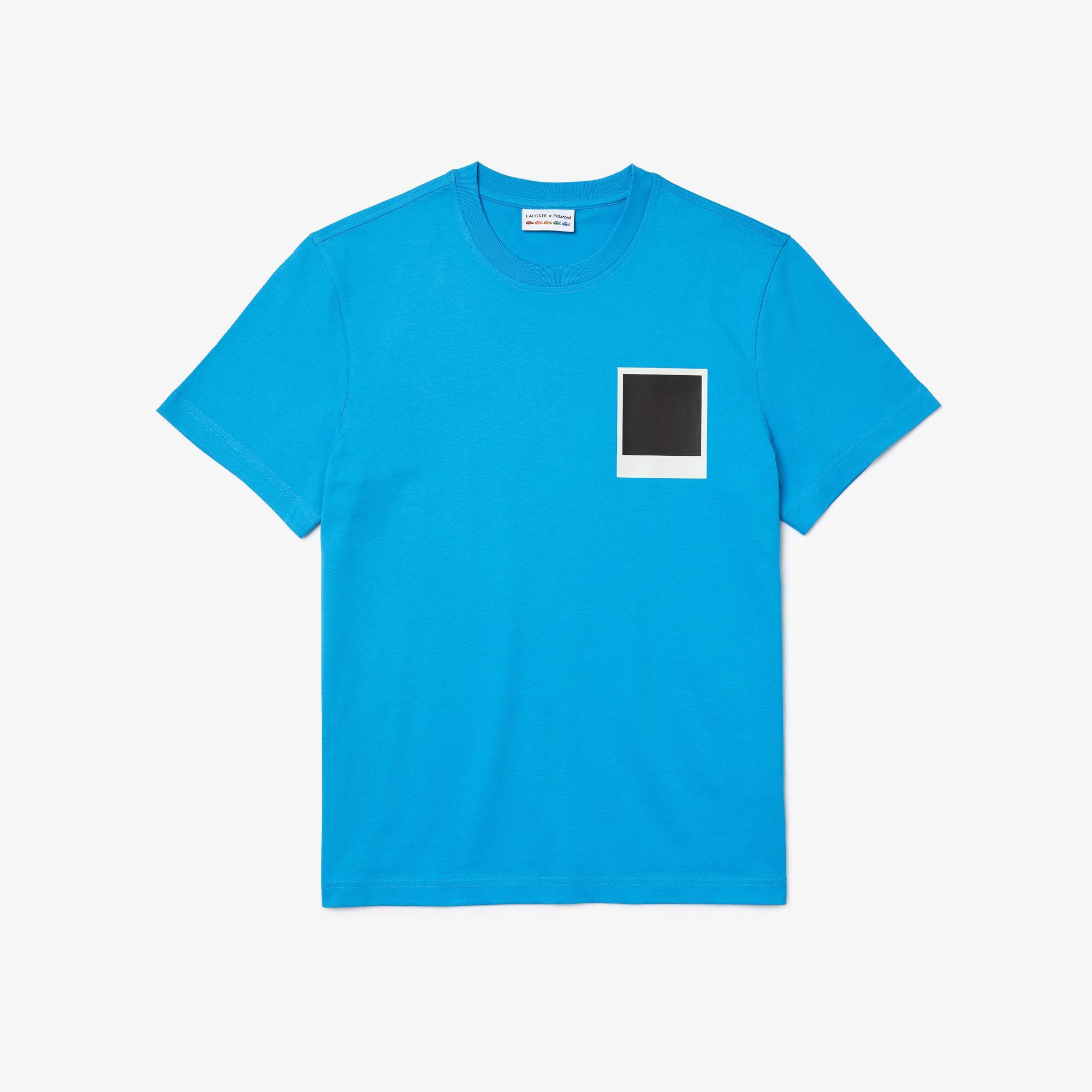 Lacoste X Polaroid Erkek Regular Fit Bisiklet Yaka Baskılı Mavi T-Shirt