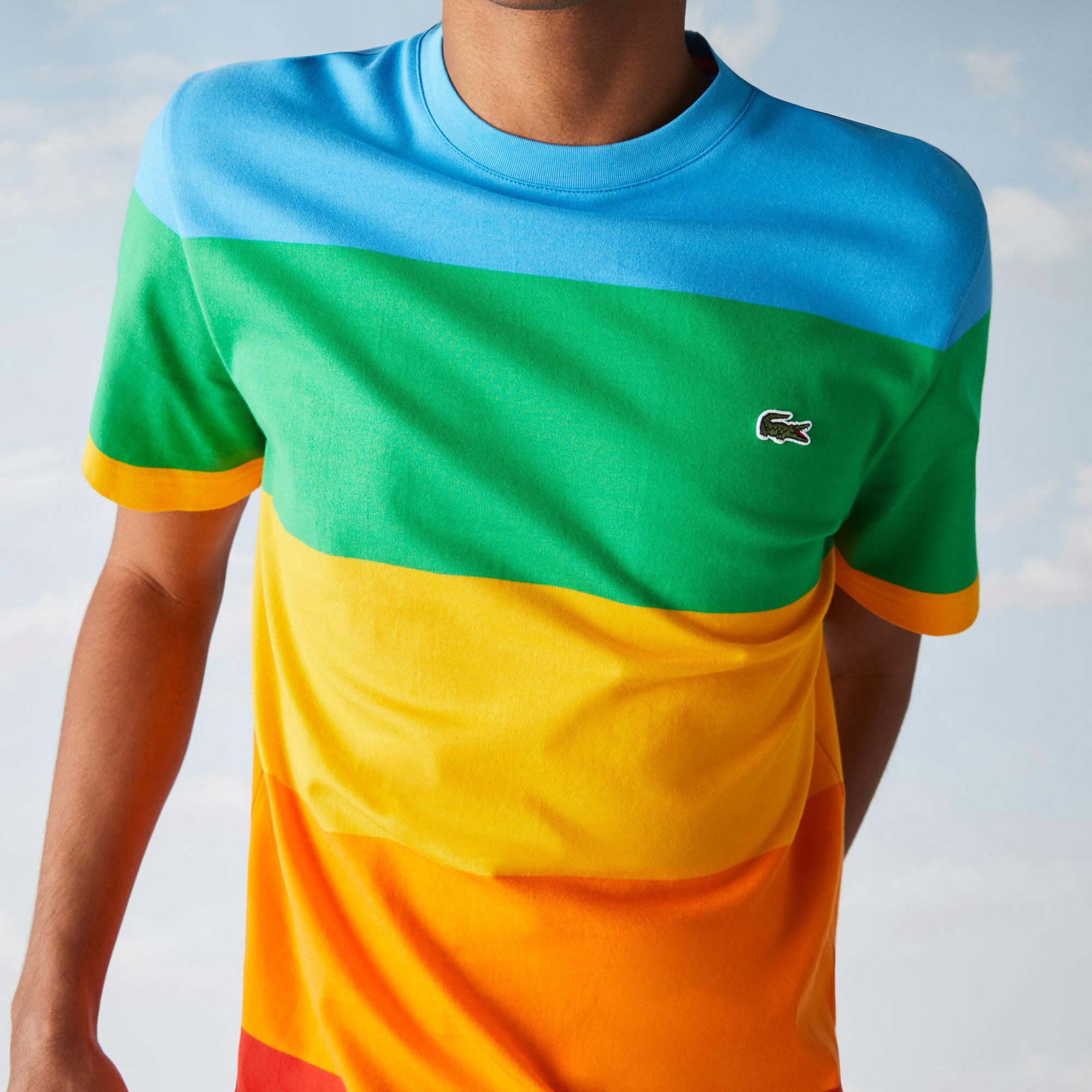 Lacoste X Polaroid Erkek Regular Fit Bisiklet Yaka Renk Bloklu Renkli T-Shirt