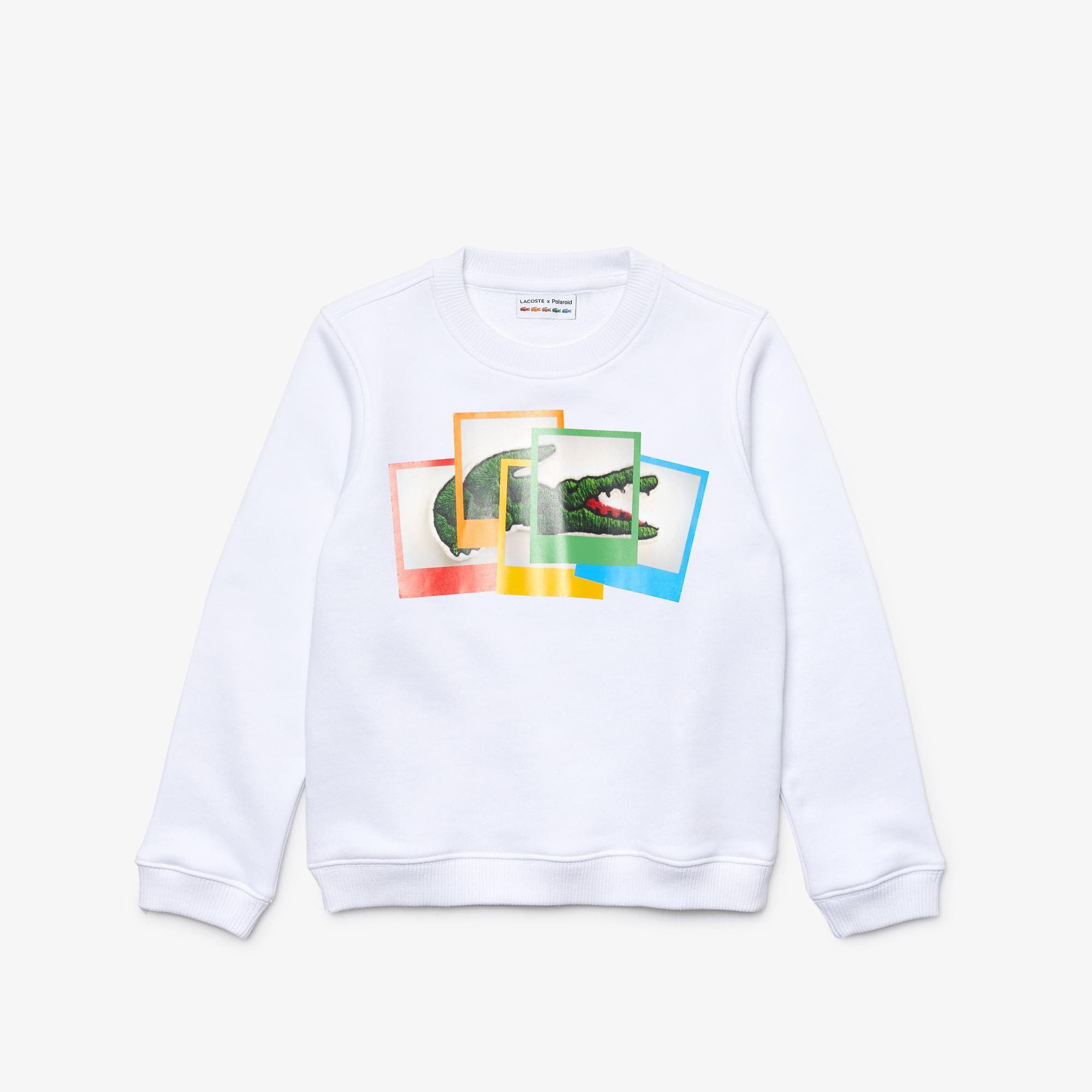 Lacoste X Polaroid Çocuk Bisiklet Yaka Baskılı Beyaz Sweatshirt