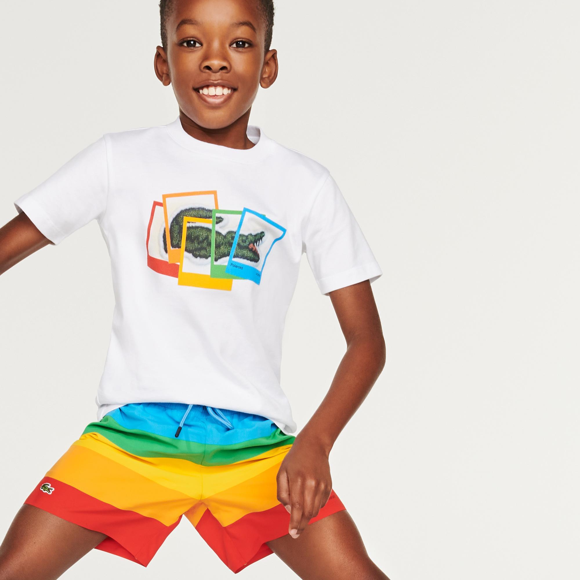 Lacoste X Polaroid Çocuk Bisiklet Yaka Beyaz T-Shirt