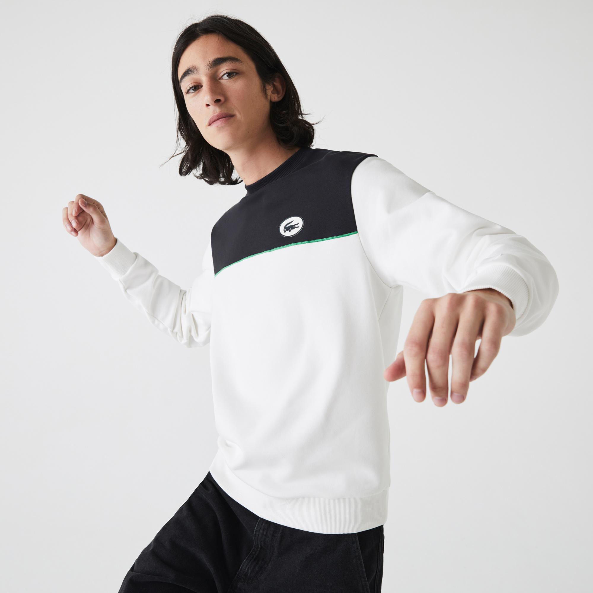 Lacoste Erkek Rahat Fit Bisiklet Yaka Renk Bloklu Lacivert - Beyaz Sweatshirt