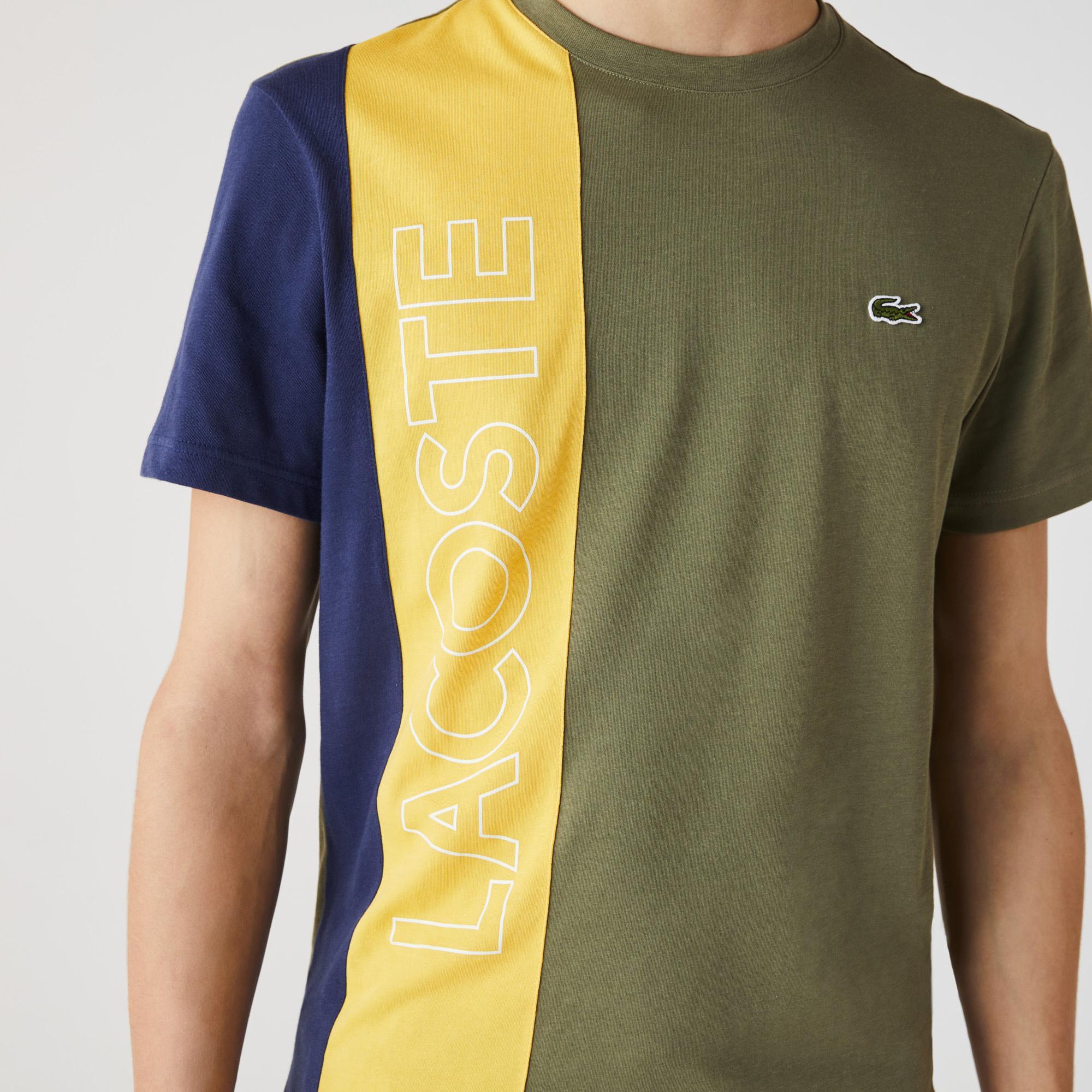 Lacoste Erkek Regular Fit Bisiklet Yaka Baskılı Renk Bloklu Renkli T-Shirt