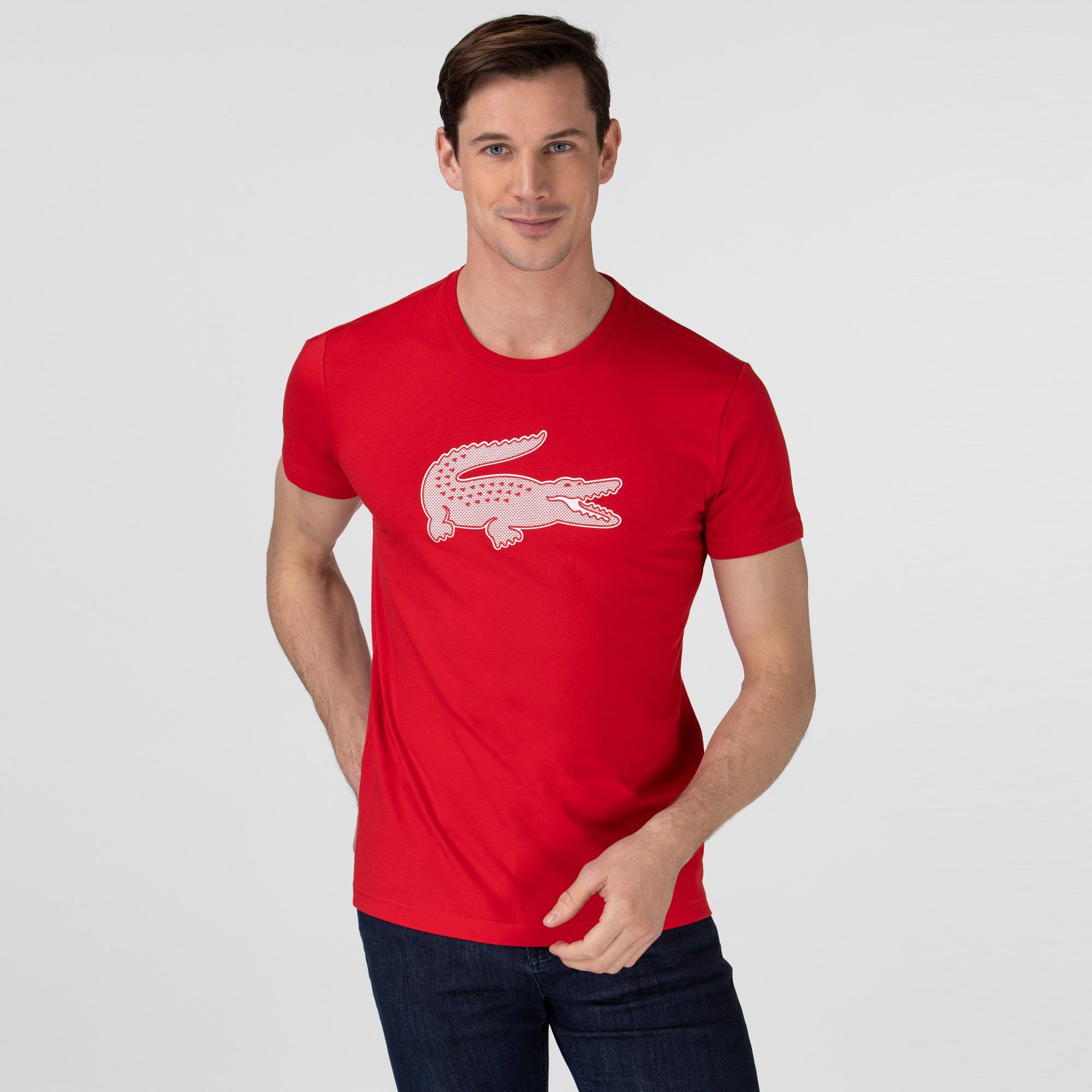 Lacoste Sport Erkek Timsah Baskılı Bisiklet Yaka Kırmızı T-Shirt