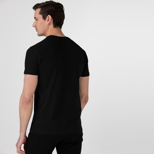 Lacoste Sport Erkek Timsah Baskılı Bisiklet Yaka Siyah T-Shirt