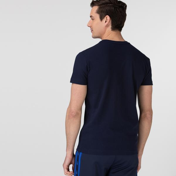 Lacoste Sport Erkek Bisiklet Yaka Timsah Baskılı Lacivert T-Shirt
