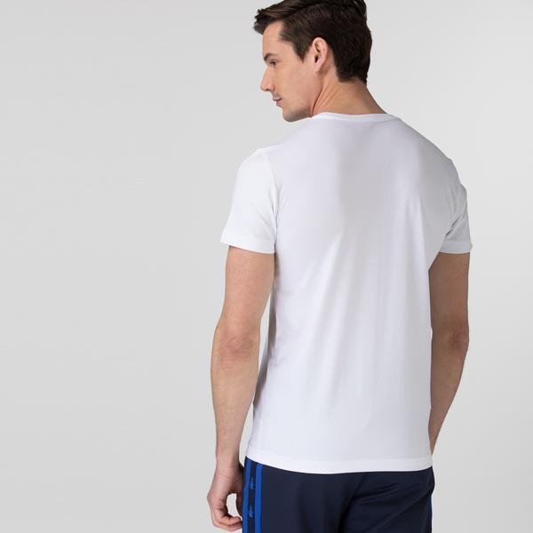 Lacoste Sport Erkek Bisiklet Yaka Timsah Baskılı Beyaz T-Shirt