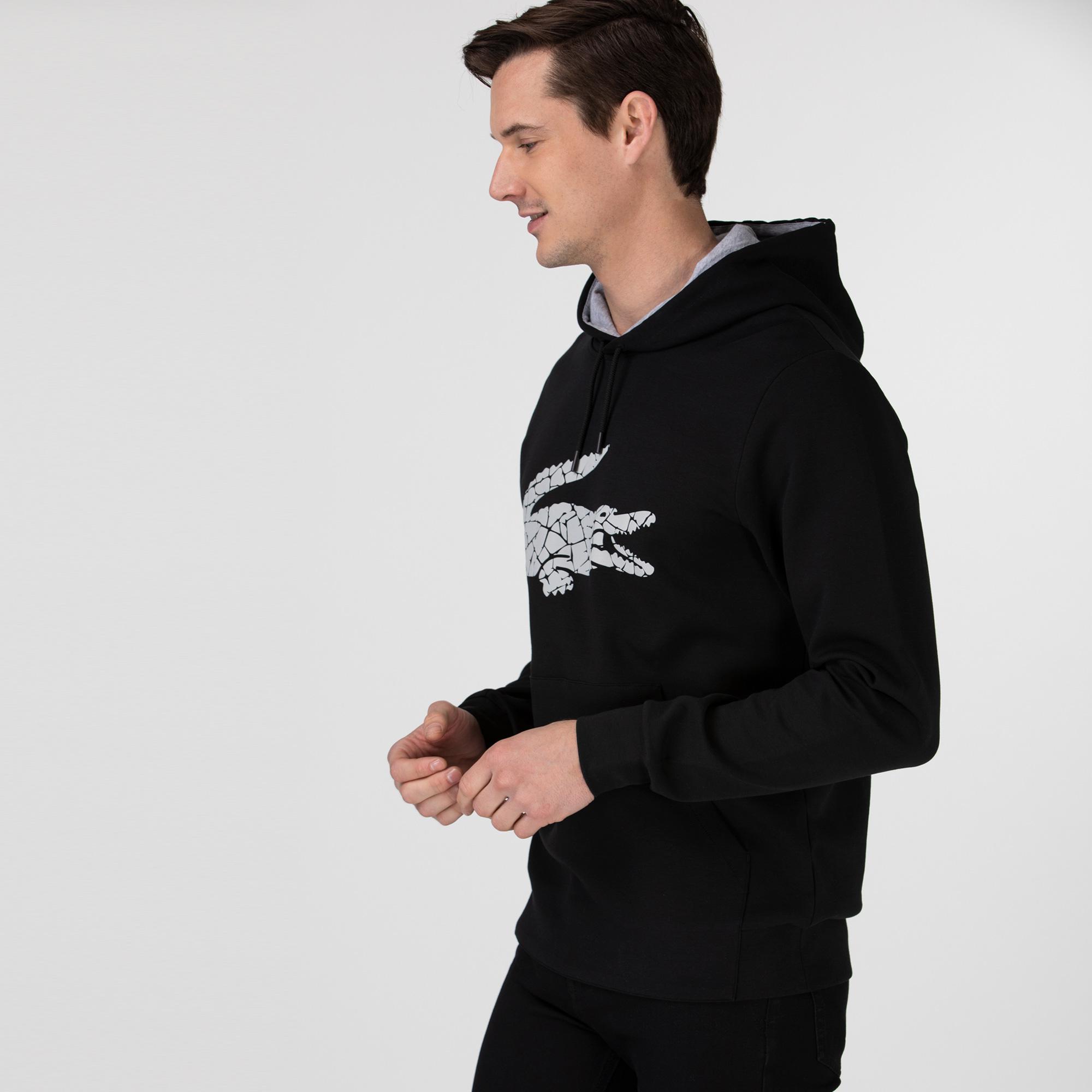 Lacoste Erkek Kapüşonlu Timsah Baskılı Siyah Sweatshirt