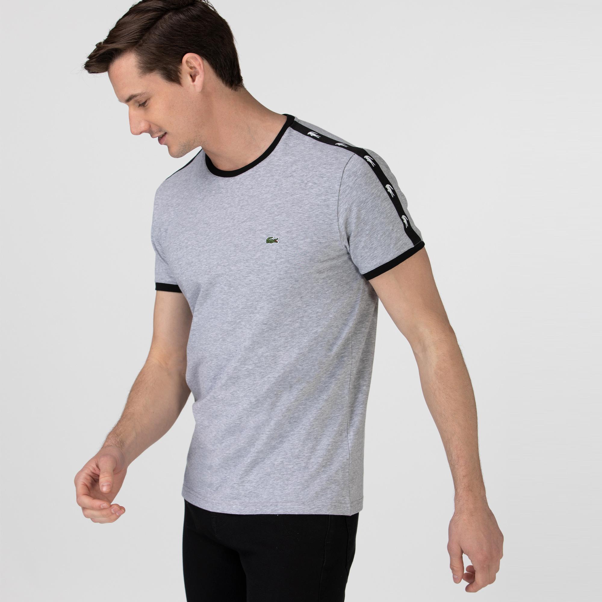 Lacoste Erkek Bisiklet Yaka Baskılı Gri T-Shirt