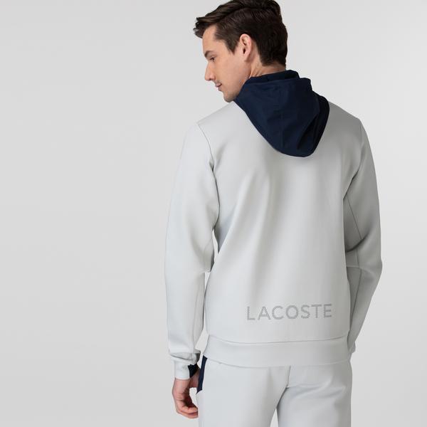 Lacoste Erkek Fermuarlı Kapüşonlu Baskılı Renk Bloklu Gri Sweatshirt