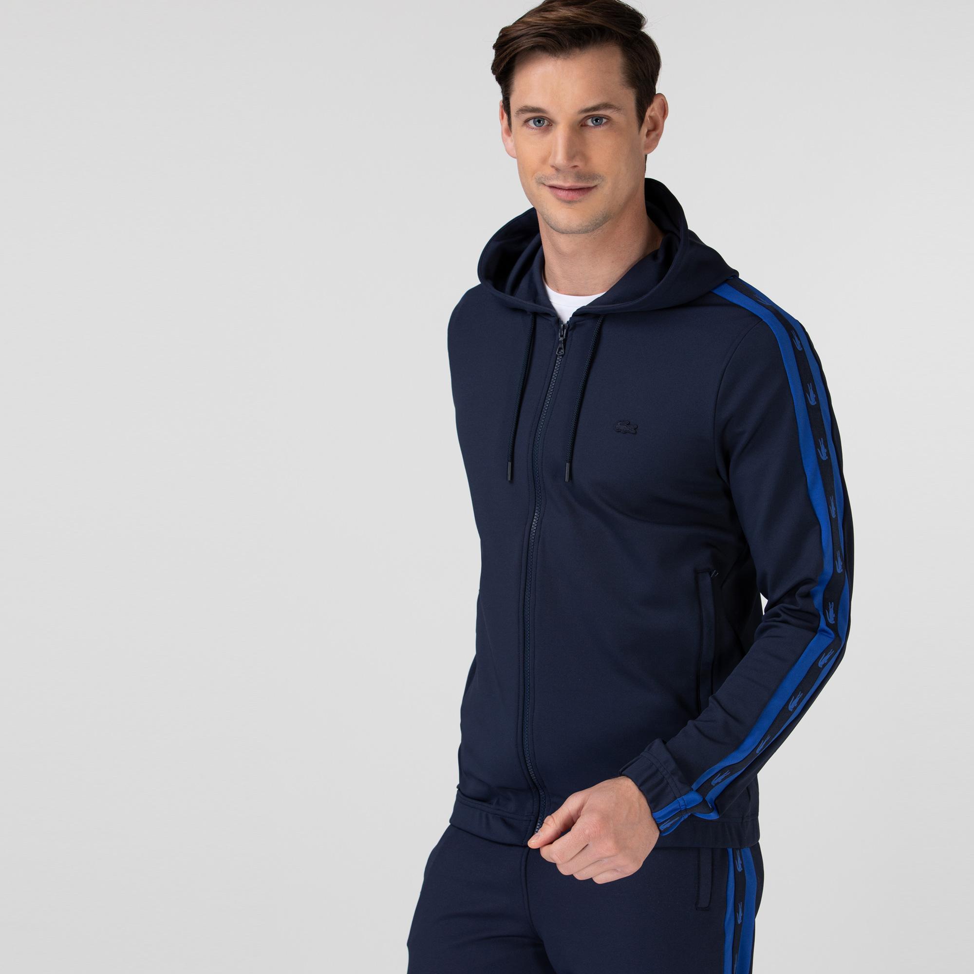 Lacoste Erkek Kapüşonlu Fermuarlı Baskılı Lacivert Sweatshirt