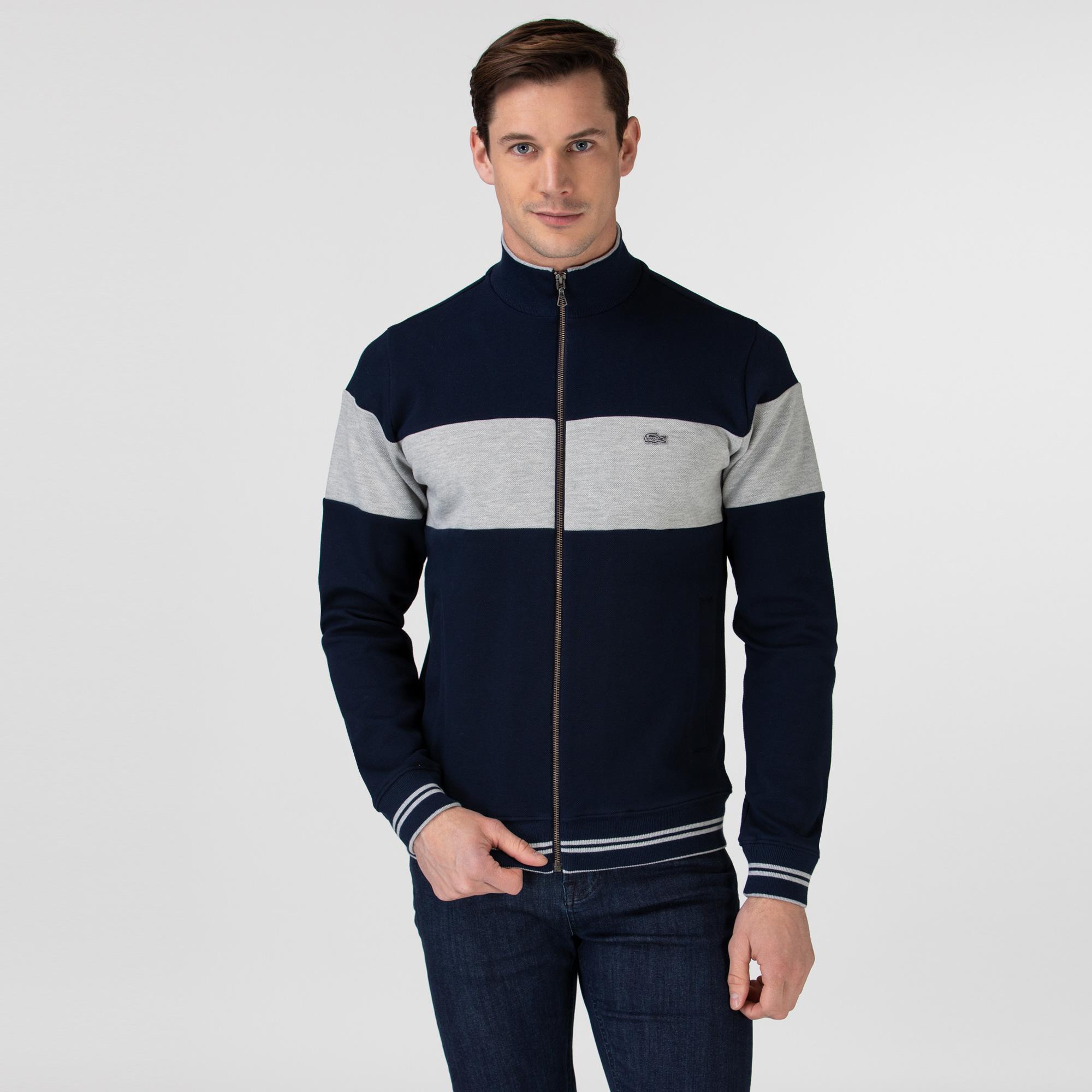 Lacoste Erkek Fermuarlı Renk Bloklu Lacivert Sweatshirt