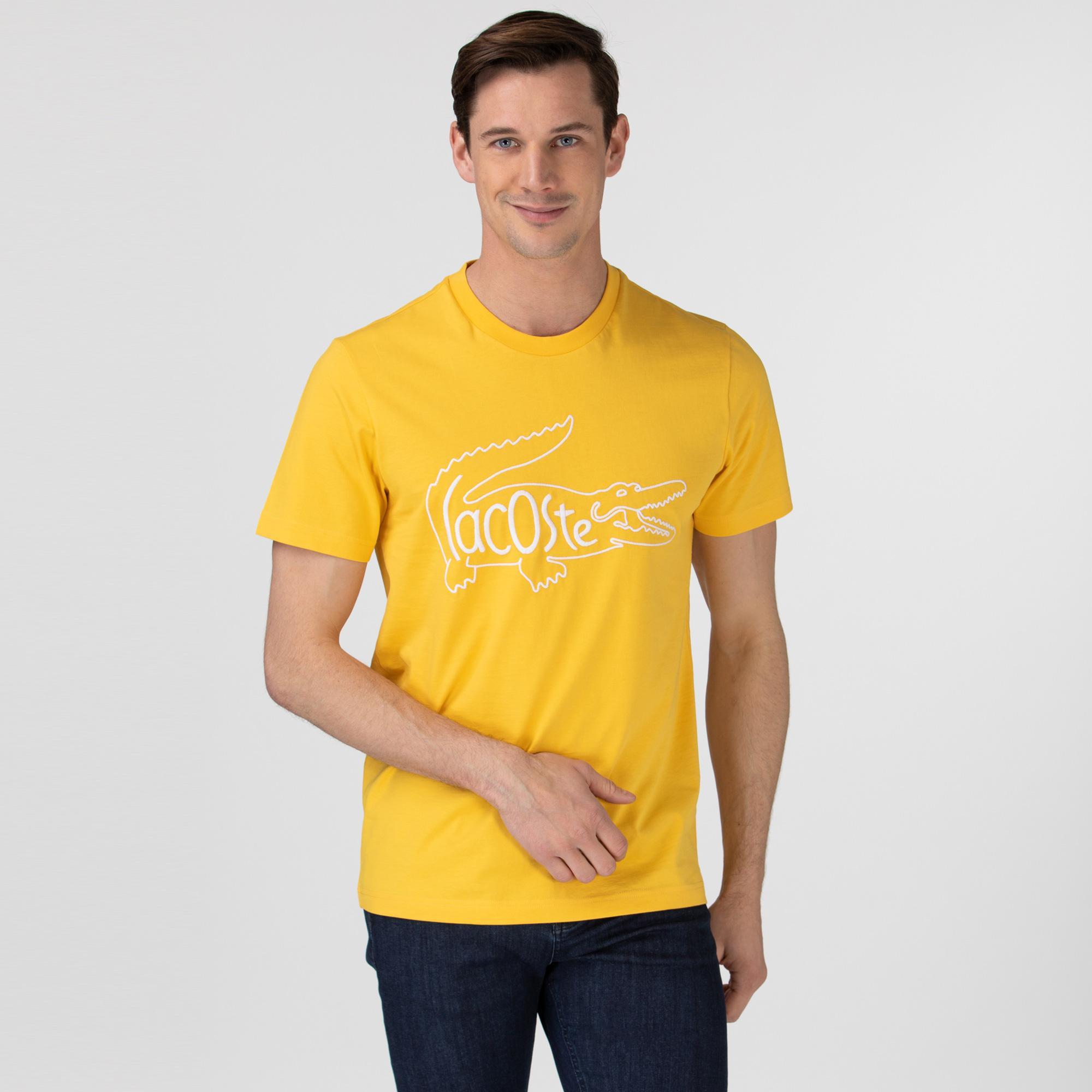 Lacoste Erkek Regular Fit Bisiklet Yaka Nakışlı Sarı T-Shirt