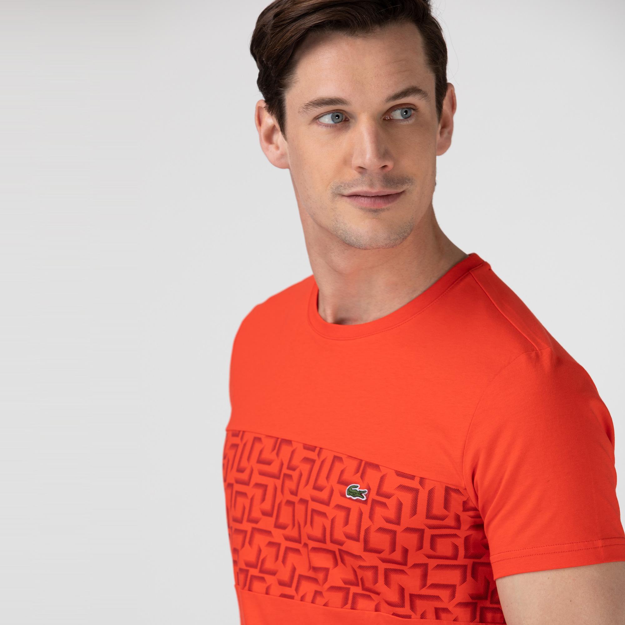 Lacoste Erkek Bisiklet Yaka Desenli Kırmızı T-Shirt