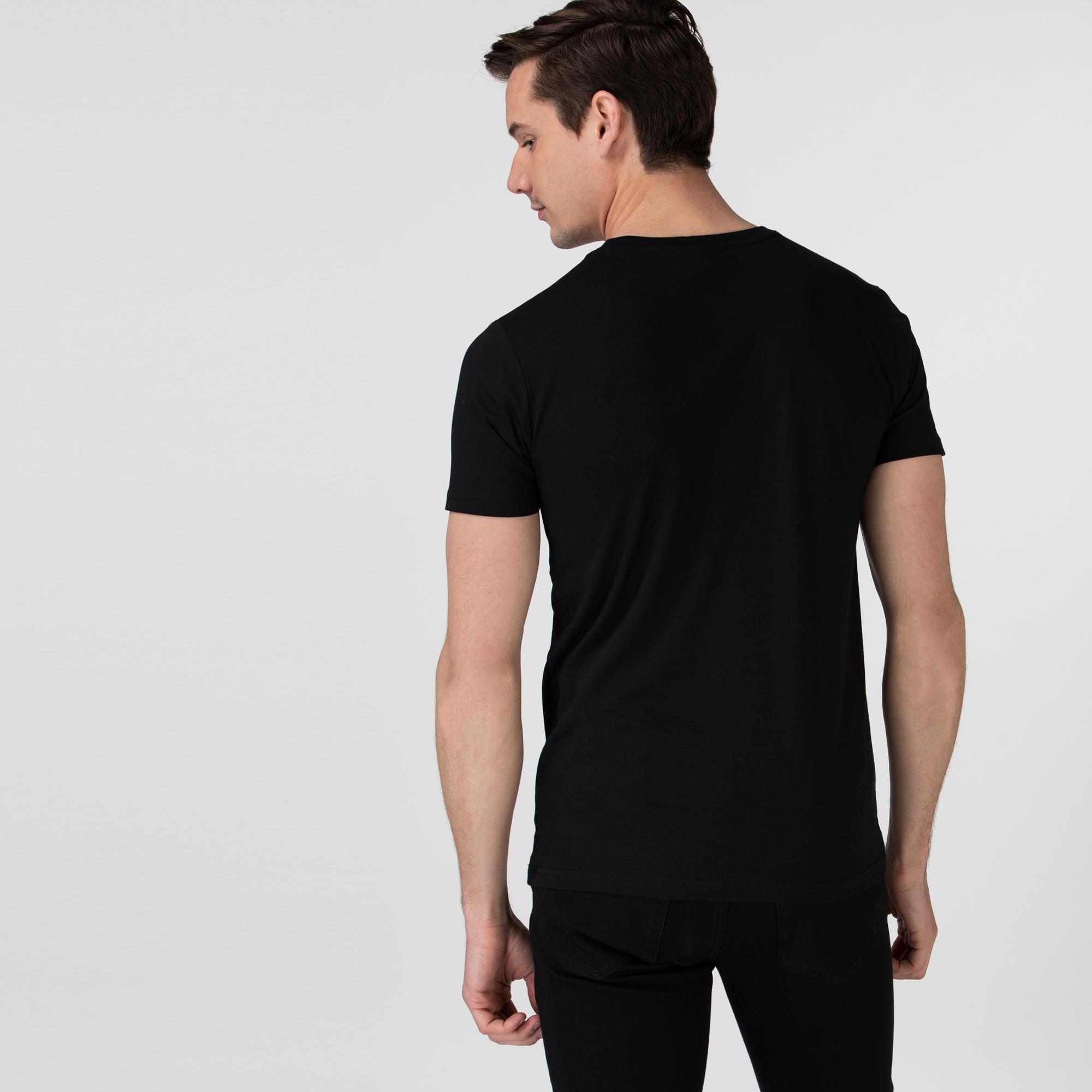 Lacoste Erkek Bisiklet Yaka Desenli Siyah T-Shirt