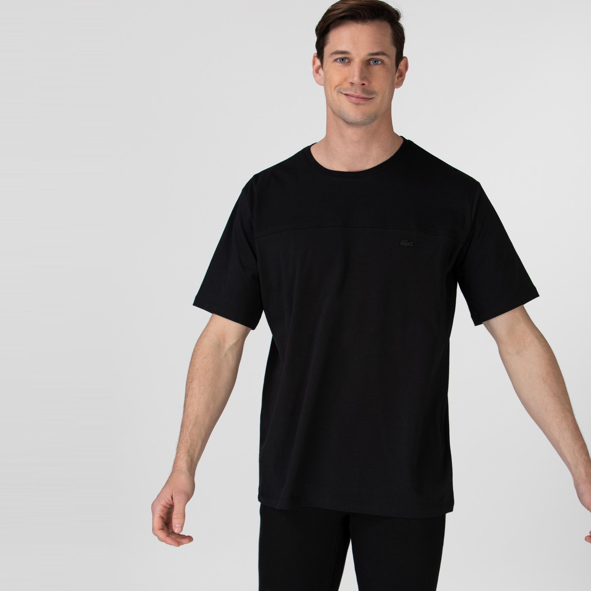 Lacoste Erkek Rahat Fit Bisiklet Yaka Baskılı Siyah T-Shirt