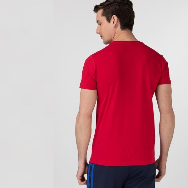 Lacoste Sport Erkek Bisiklet Yaka Baskılı Kırmızı T-Shirt