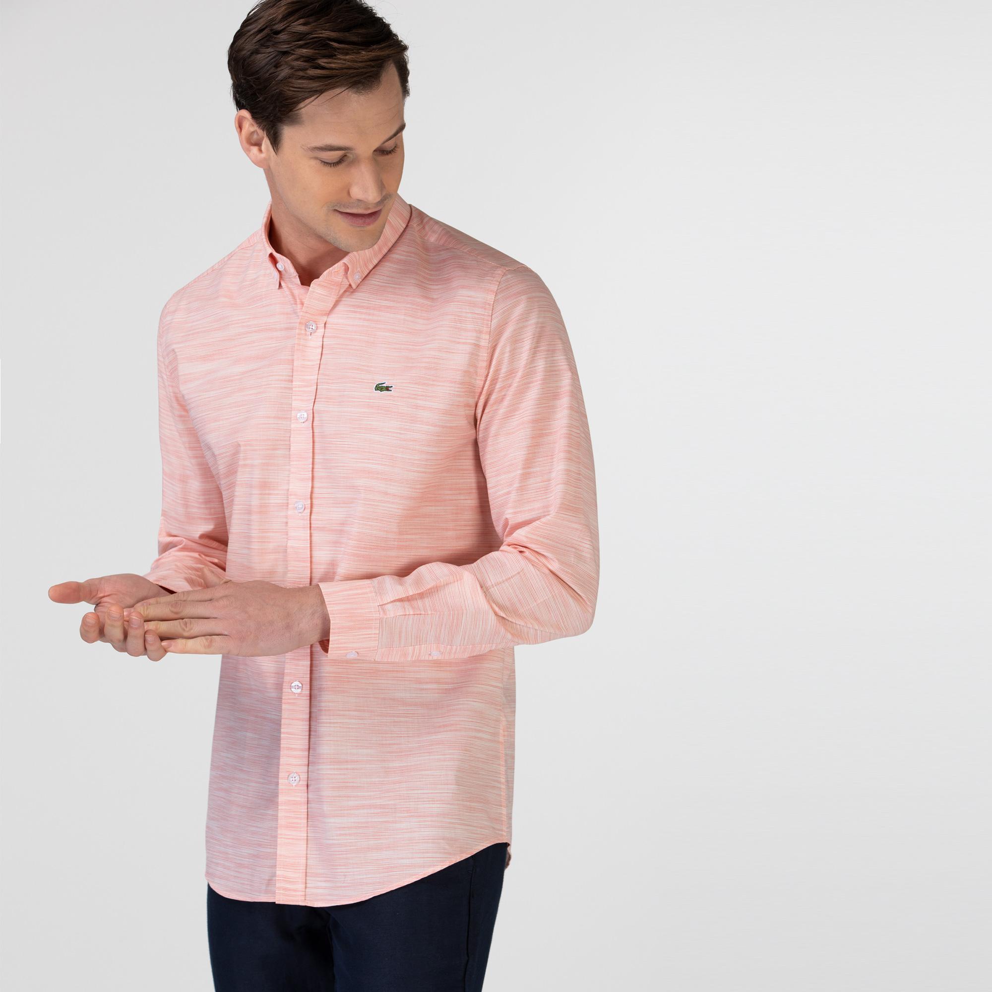 Lacoste Erkek Slim Fit Desenli Açık Pembe Gömlek