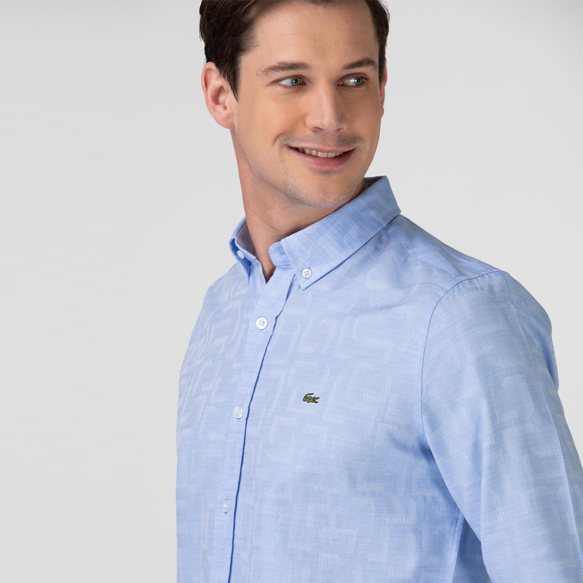 Lacoste Erkek Slim Fit Desenli Açık Mavi Gömlek