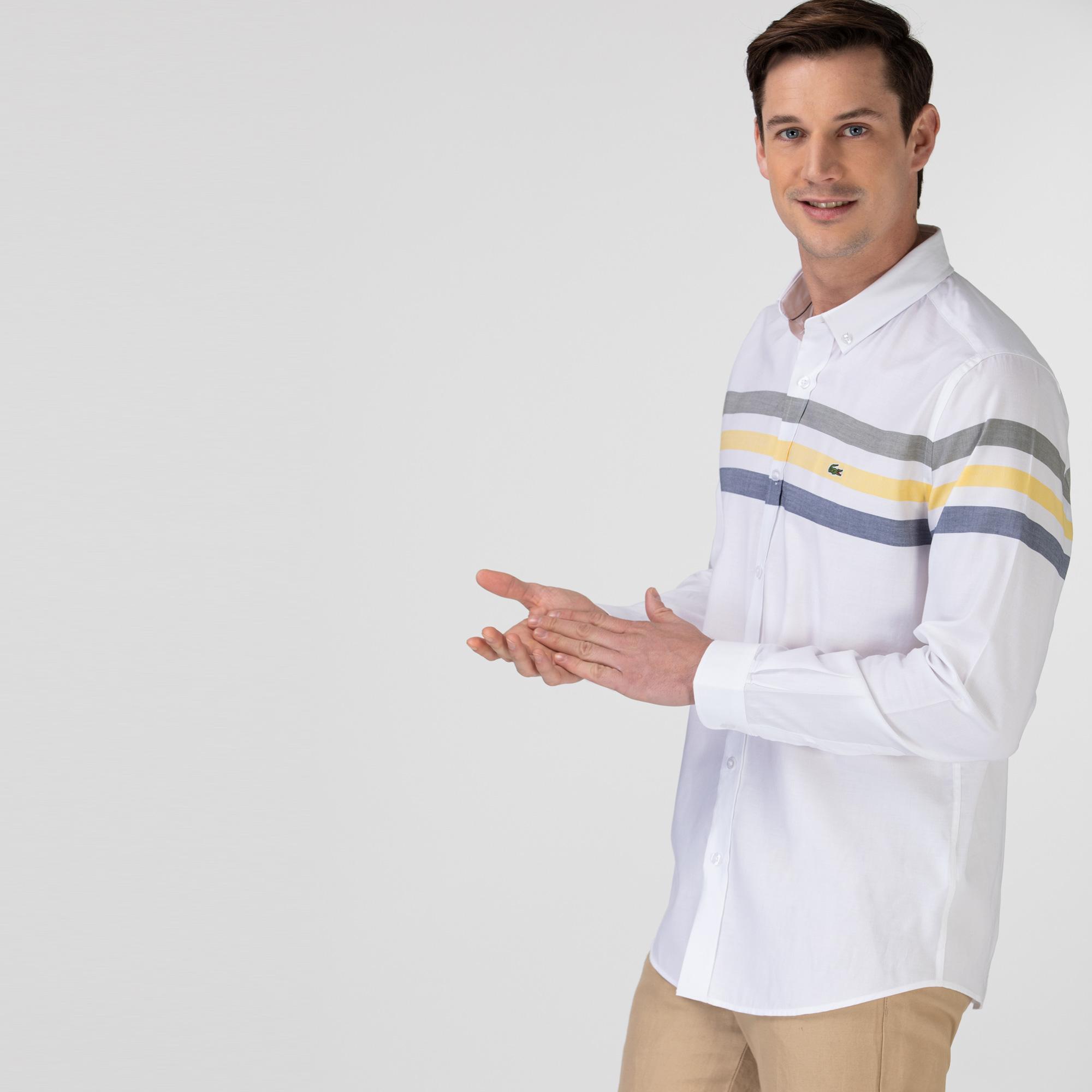 Lacoste Erkek Slim Fit Çizgili Beyaz Gömlek