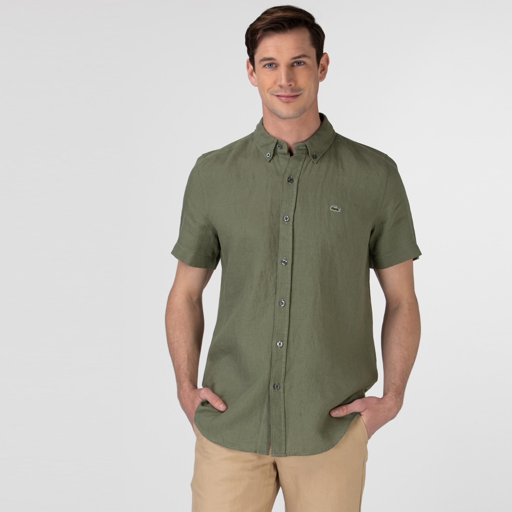 Lacoste Erkek Slim Fit Kısa Kollu Haki Gömlek