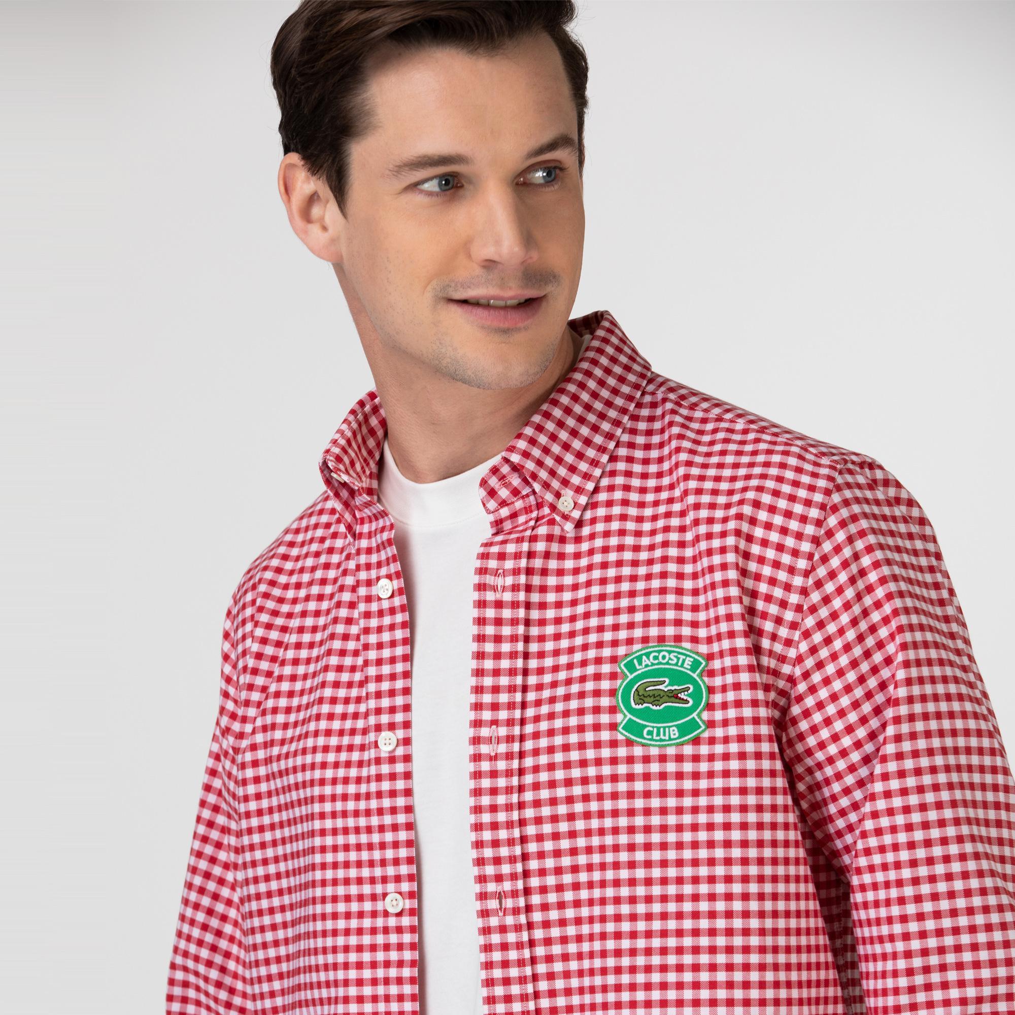 Lacoste Erkek Regular Fit Ekose Desenli Kırmızı - Beyaz Gömlek