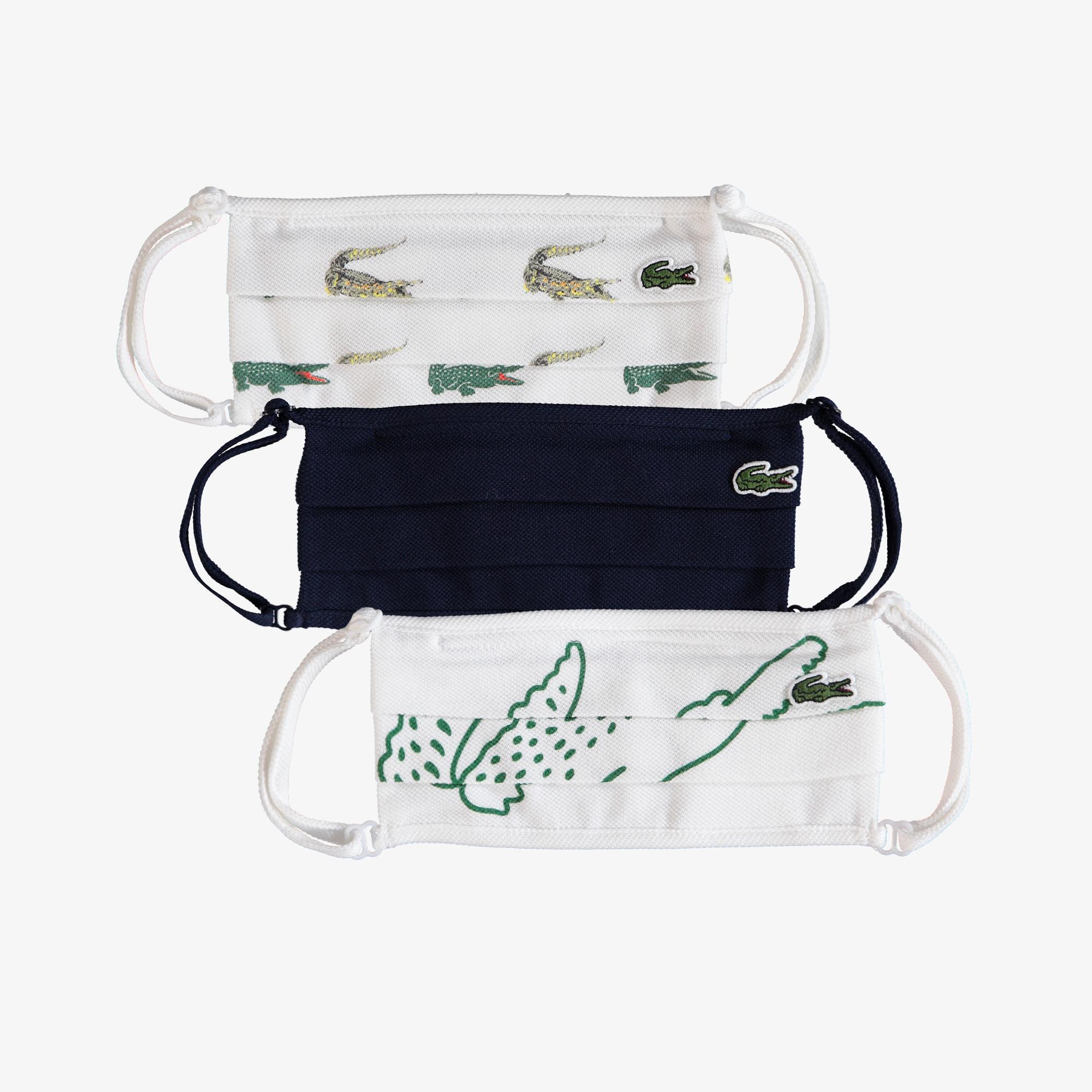 Lacoste Pamuklu Yıkanabilir Lacivert - Beyaz Baskılı 3'lü Maske