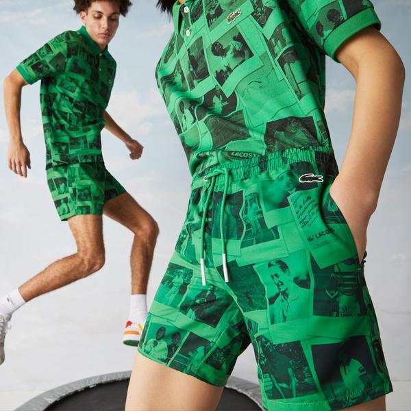 Lacoste X Polaroid L!ve Erkek Baskılı Yeşil Şort Mayo