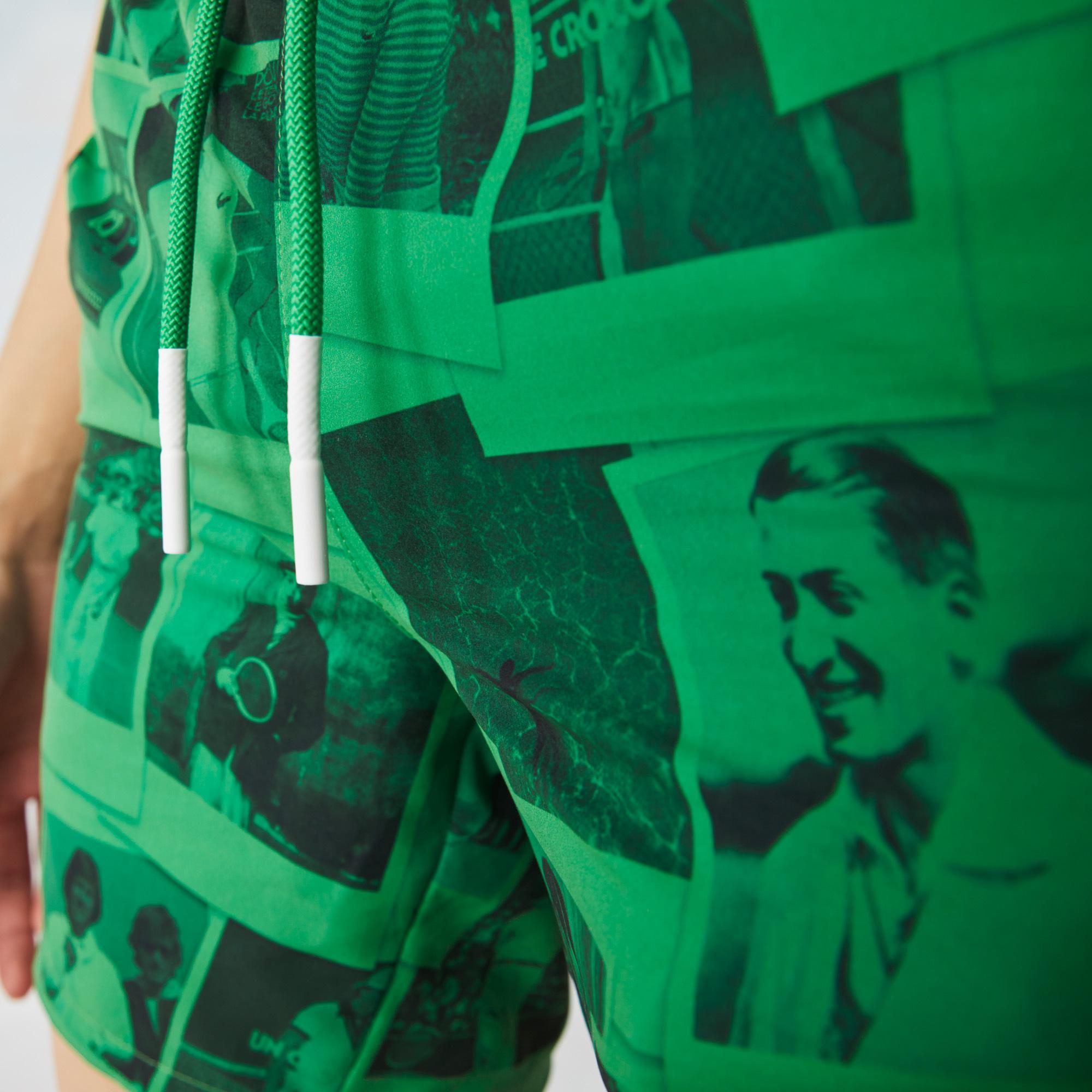 Lacoste X Polaroid L!ve Unisex Baskılı Yeşil Şort Mayo
