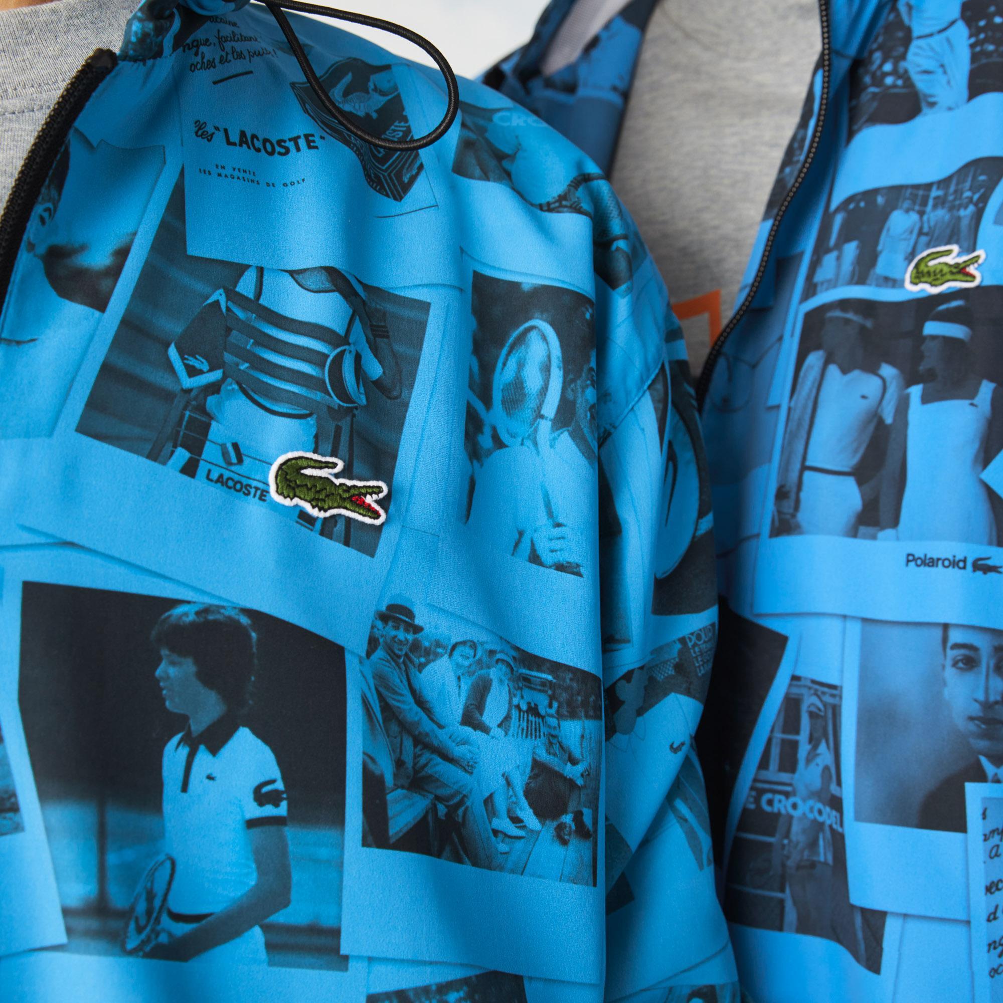 Lacoste X Polaroid L!ve Unisex Kapüşonlu Baskılı Mavi Mont