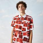 Lacoste X Polaroid L!ve Unisex Loose Fit Baskılı Kırmızı Polo