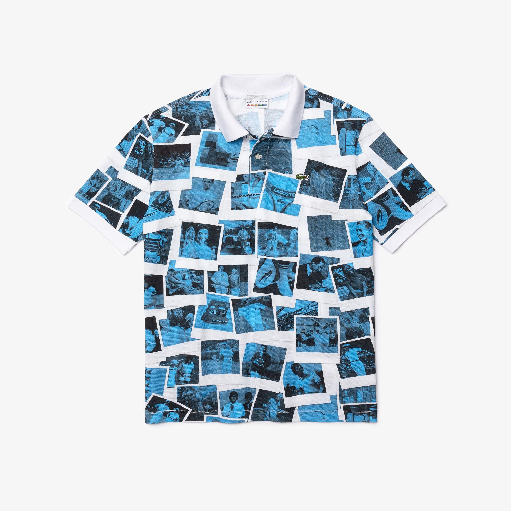 Lacoste L!ve X Polaroid Unisex Loose Fit Baskılı Mavi Polo
