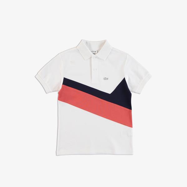 Lacoste Çocuk Renk Bloklu Beyaz Polo