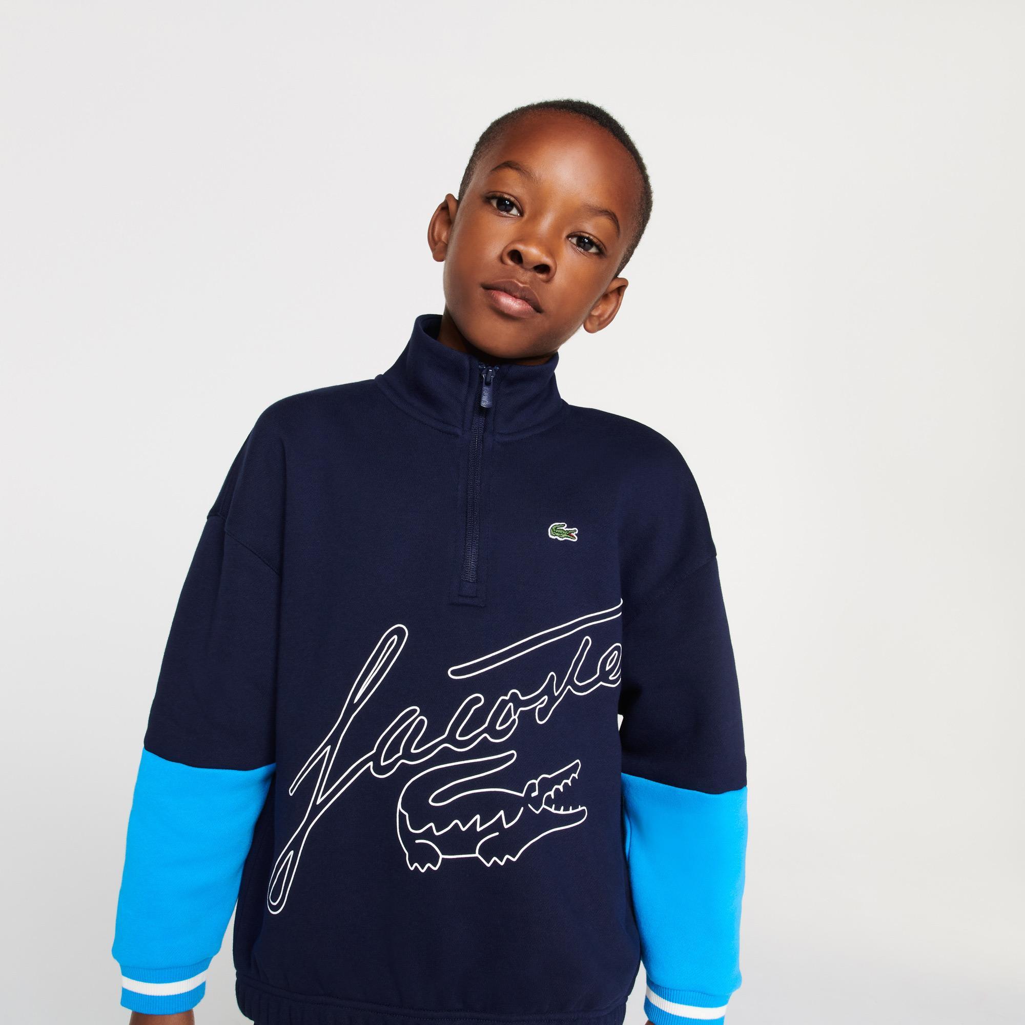 Lacoste Çocuk Fermuarlı Yaka Baskılı Lacivert Sweatshirt