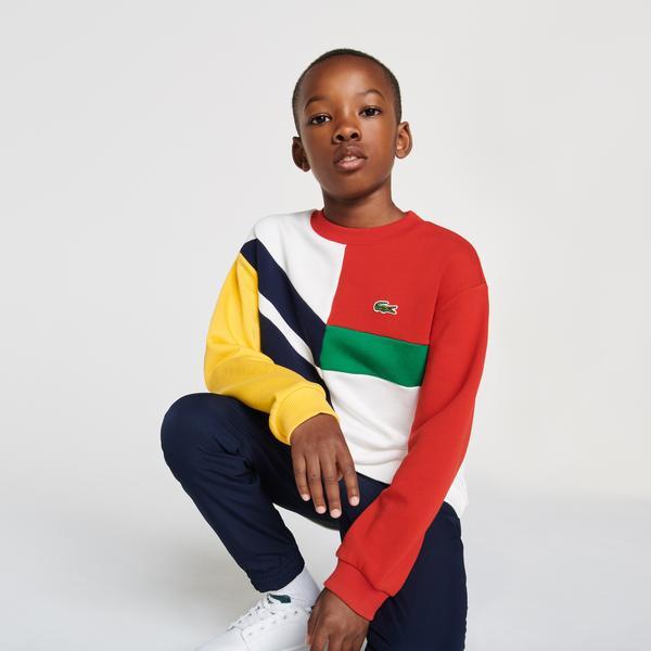 Lacoste Çocuk Bisiklet Yaka Renk Bloklu Renkli Sweatshirt
