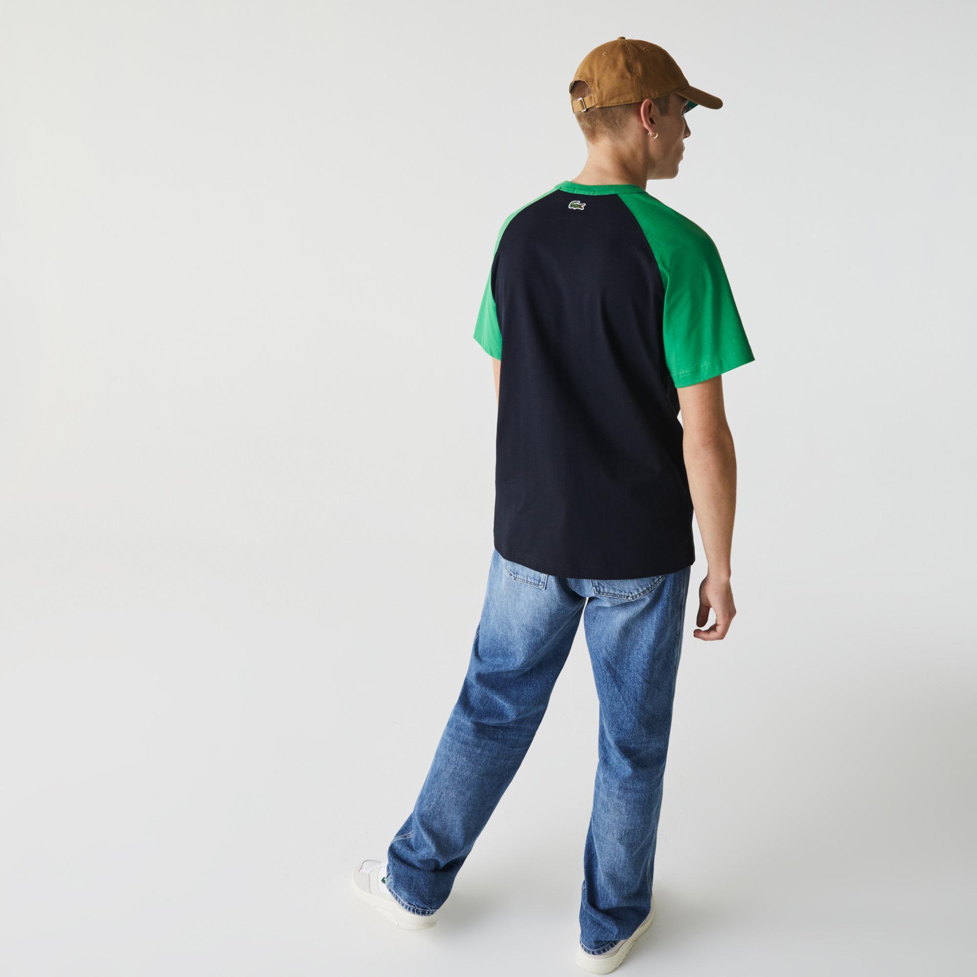 Lacoste L!ve Unisex Bisiklet Yaka Renk Bloklu Yeşil - Lacivert T-Shirt
