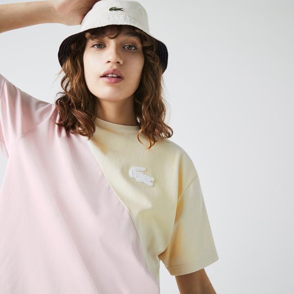 Lacoste L!ve Kadın Boxy Fit Bisiklet Yaka Renk Bloklu Bej - Pembe T-Shirt