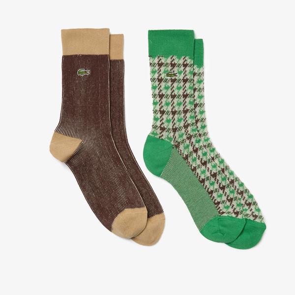 Lacoste Erkek Uzun Desenli Renkli Çorap