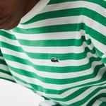 Lacoste Kadın Kısa Kollu Bisiklet Yaka Çizgili Yeşil - Beyaz Elbise