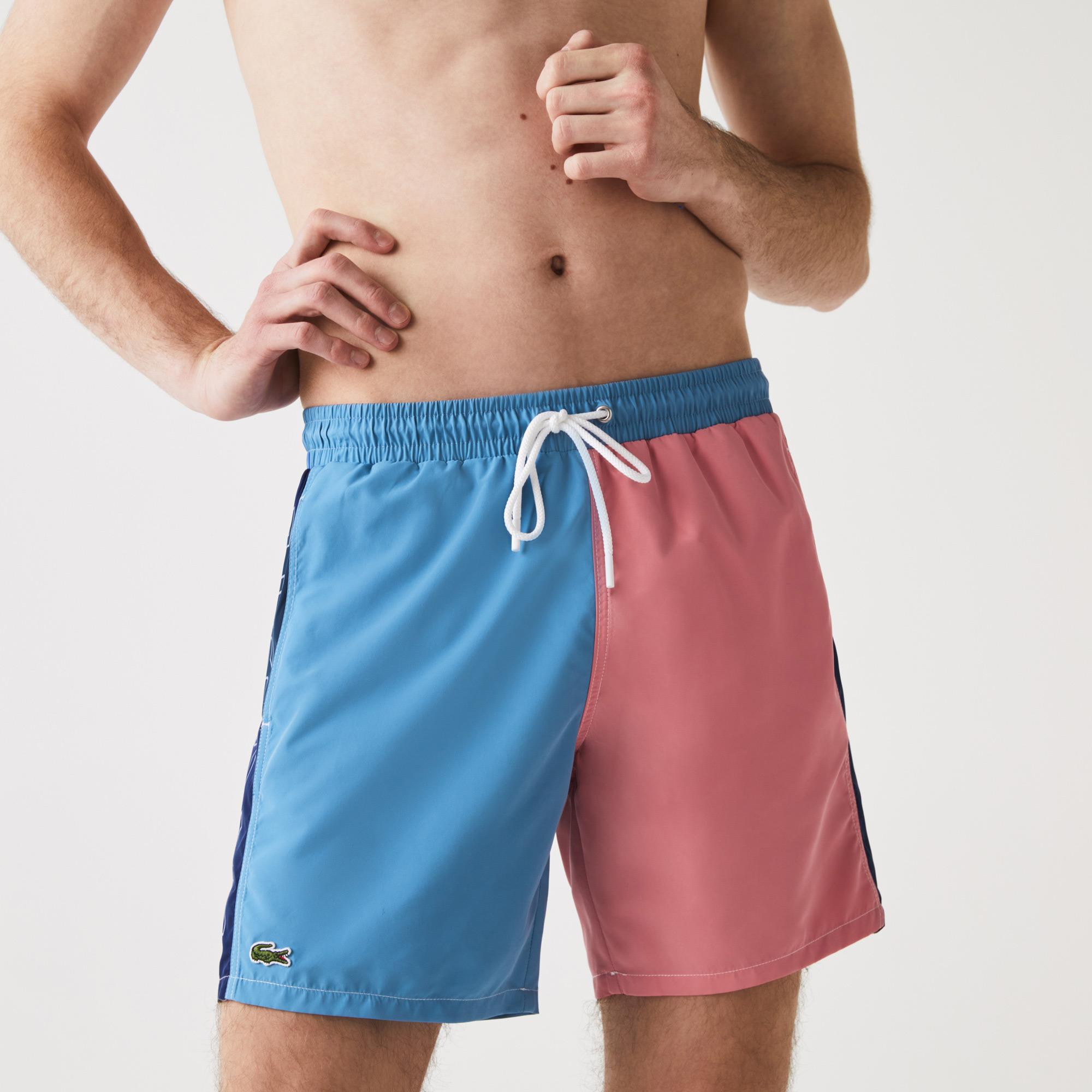 Lacoste Erkek Renk Bloklu Baskılı Renkli Şort Mayo
