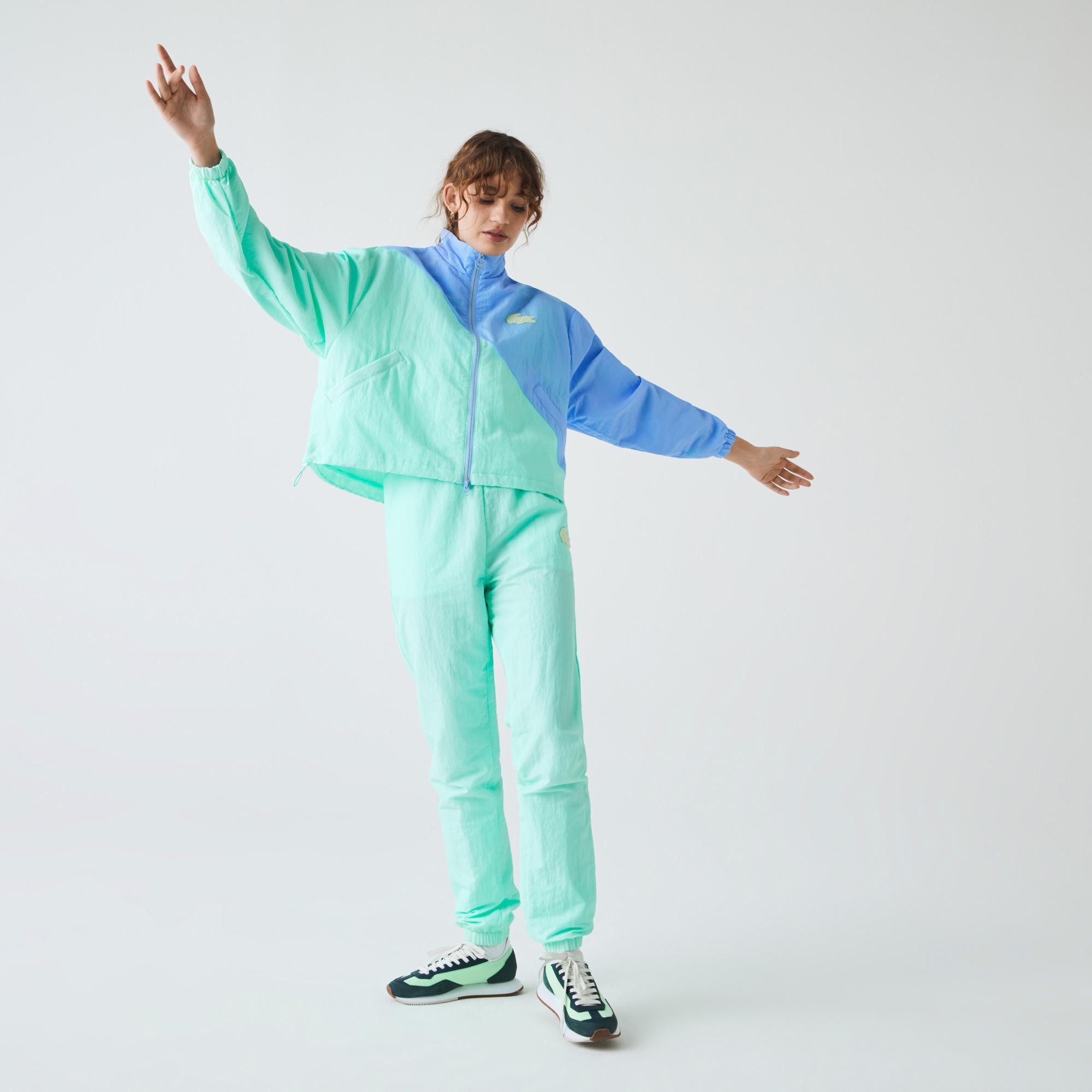 Lacoste L!ve Kadın Dik Yaka Renk Bloklu Mavi - Açık Yeşil Mont