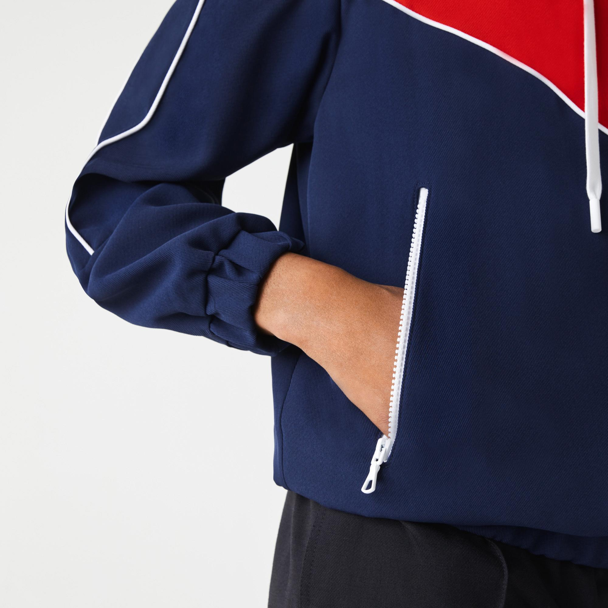 Lacoste Kadın Fermuarlı Kapüşonlu Renk Bloklu Kırmızı - Lacivert Sweatshirt