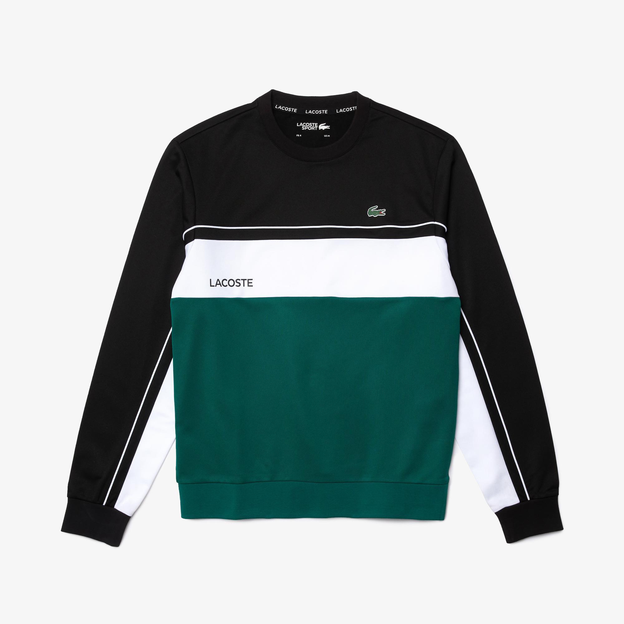 Lacoste Sport Erkek Bisiklet Yaka Baskılı Renk Bloklu Renkli Sweatshirt