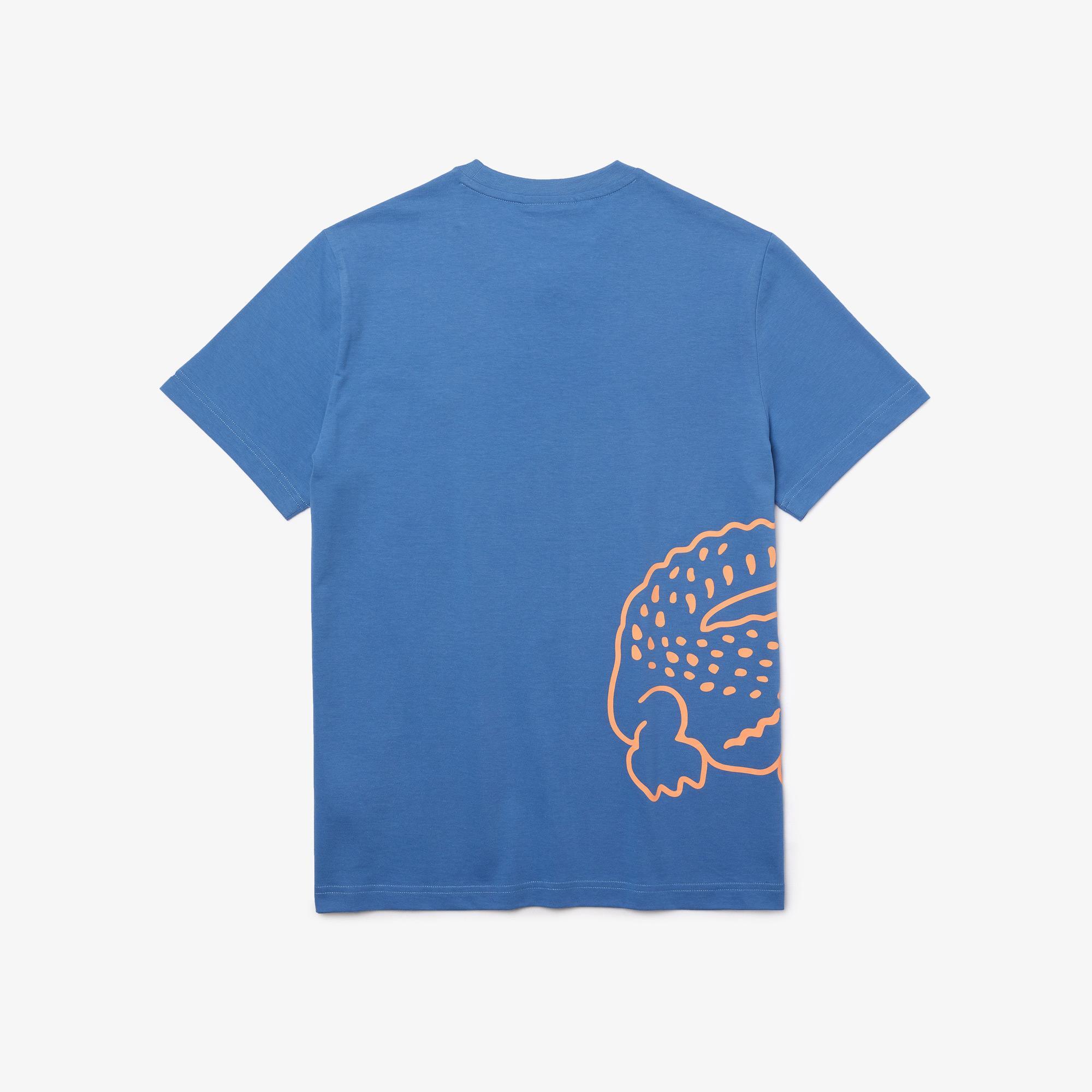 Lacoste Erkek Regular Fit Bisiklet Yaka Baskılı Mavi T-Shirt