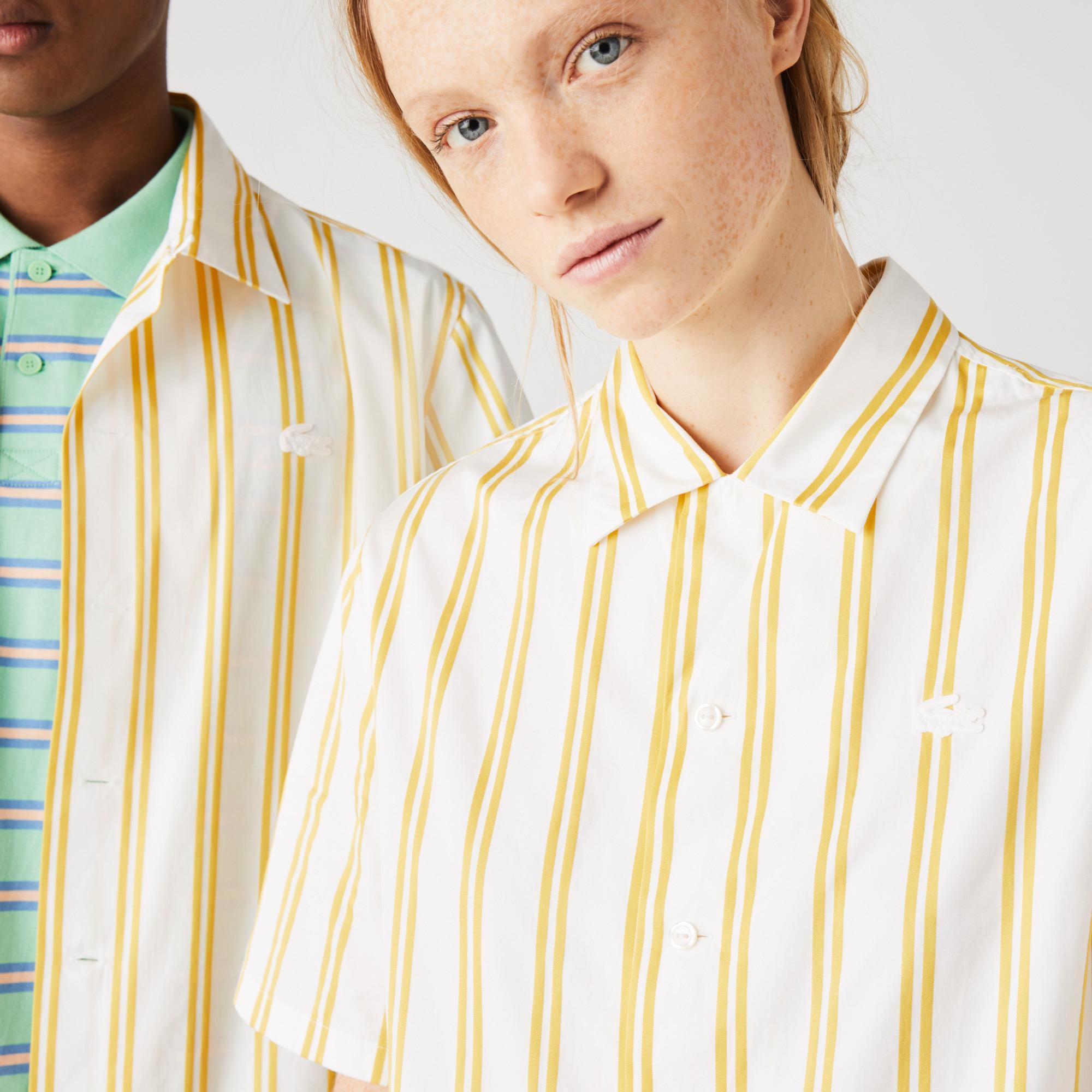 Lacoste L!ve Unisex Çizgili Beyaz - Sarı Gömlek